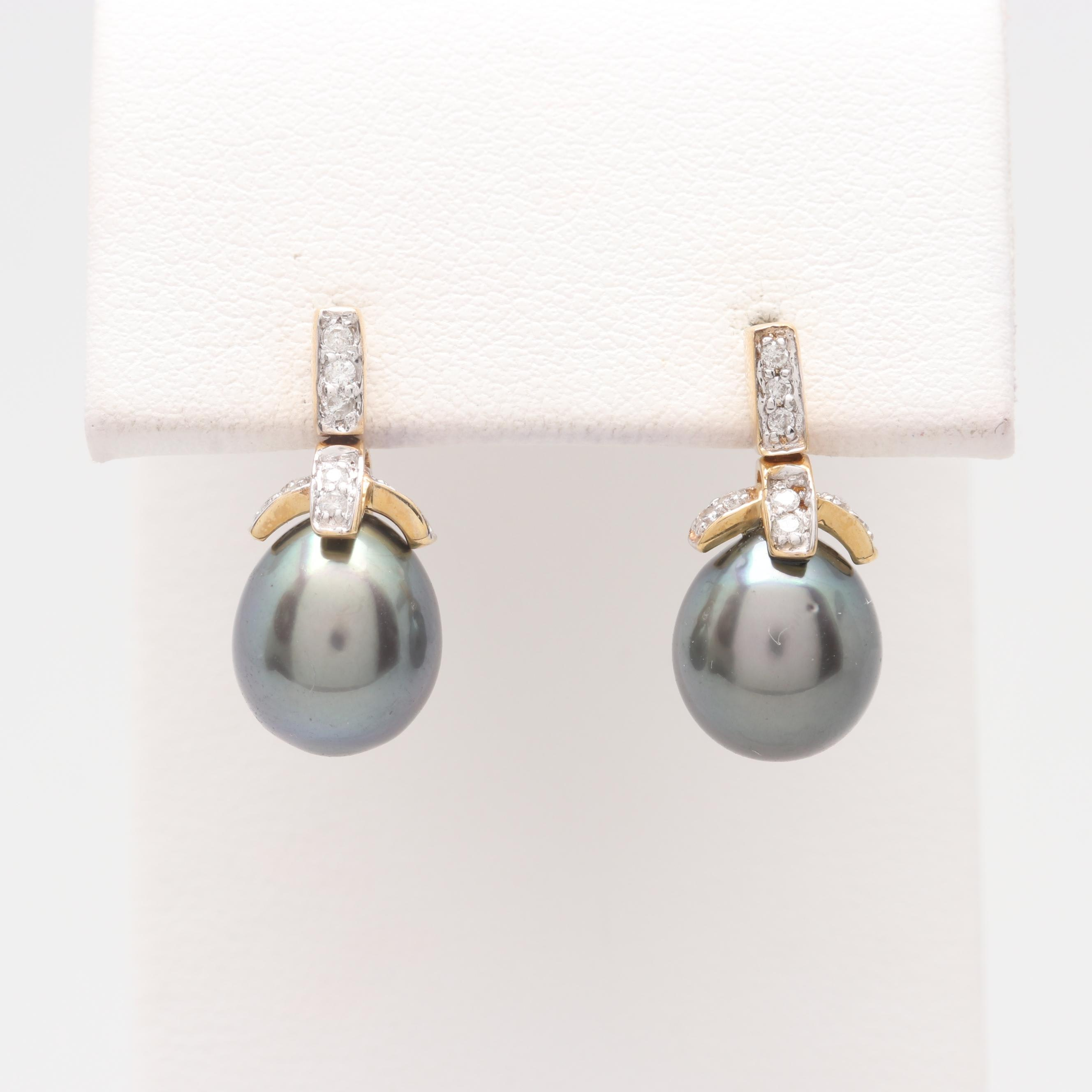 14K Yellow Gold Cultured Pearl and Diamond Earrings