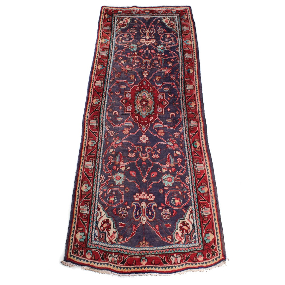 Semi-Antique Hand-Knotted Persian Sarouk Runner
