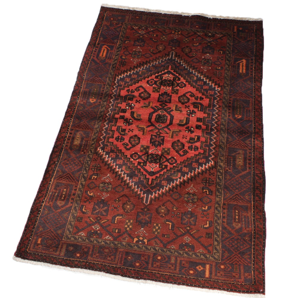 Vintage Fine Hand-Knotted Persian Zanjan Rug