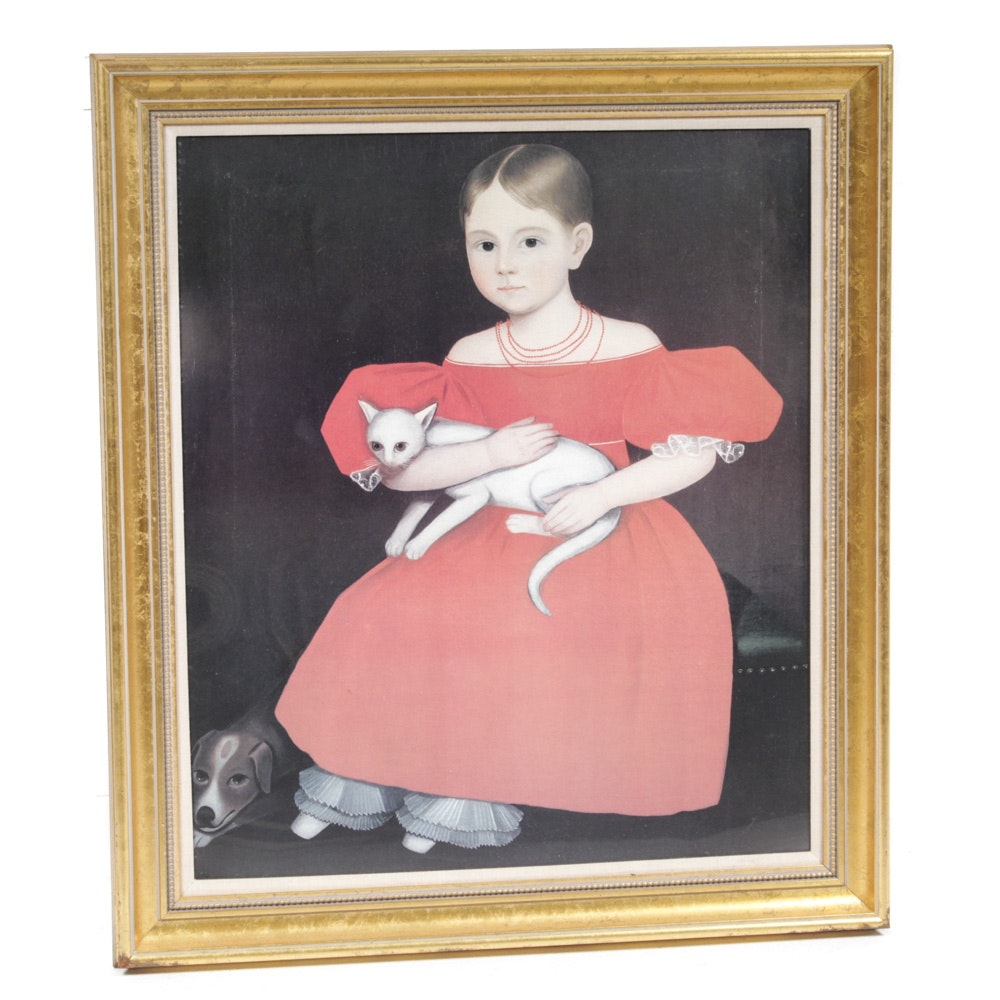 """After Ammi Phillips Offset Lithograph """"Girl in Red Dress with Cat and Dog"""""""