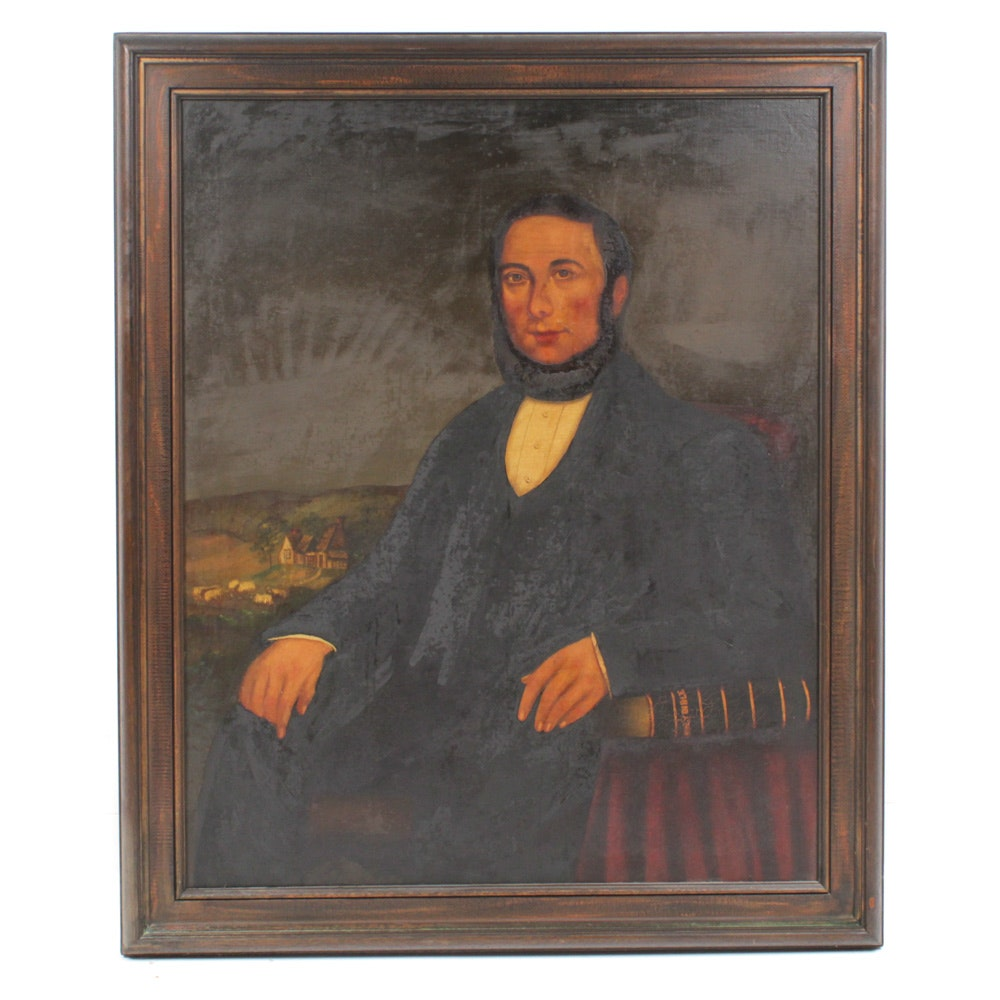 Early 19th Century Portrait Oil Painting of English Vicar