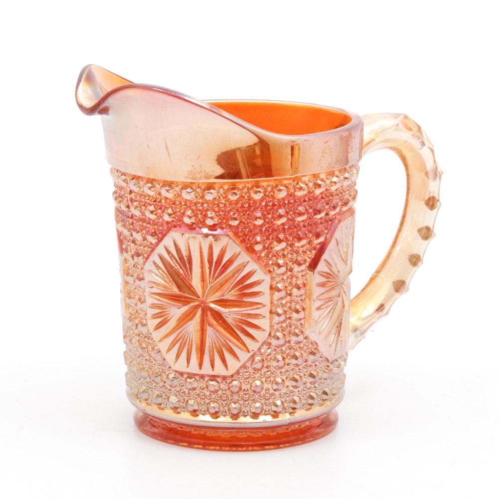 "Vintage Imperial ""Star Medallion"" Carnival Glass Milk Pitcher"