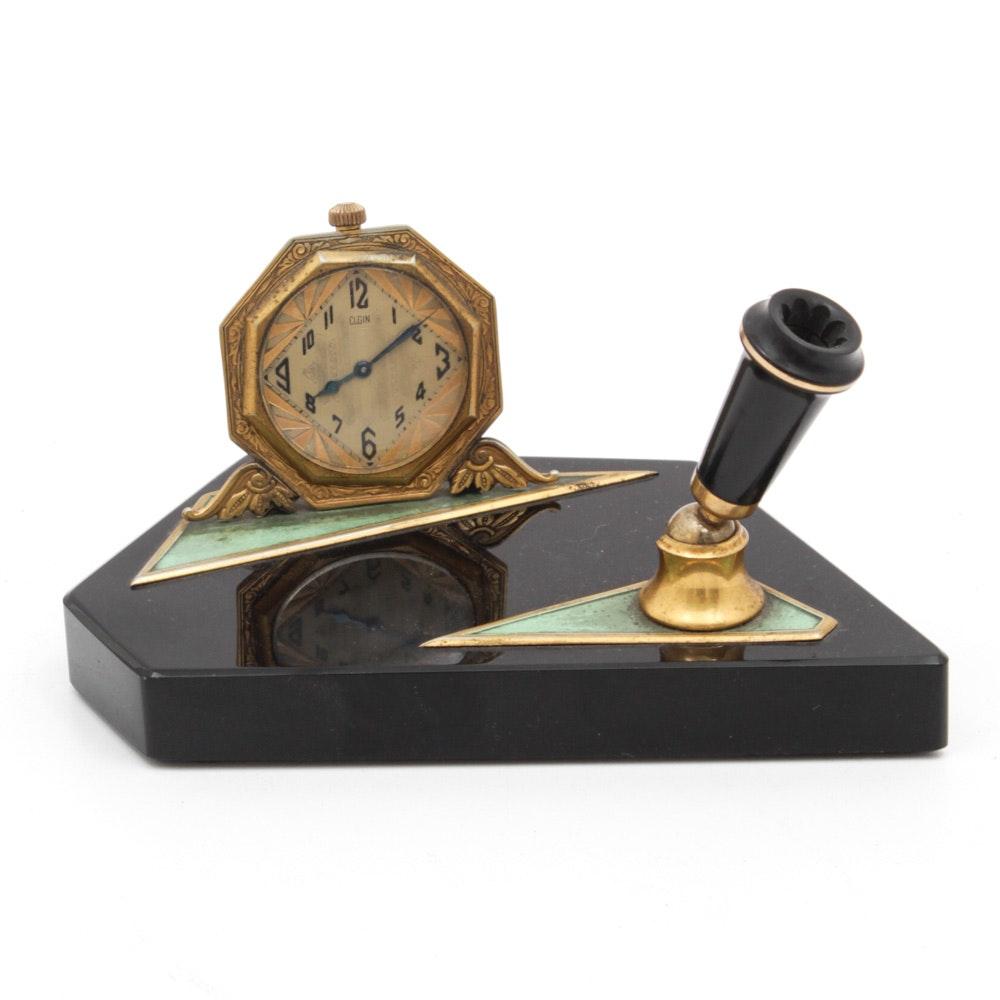 Vintage Elgin Art Deco Desk Clock with Pen Holder