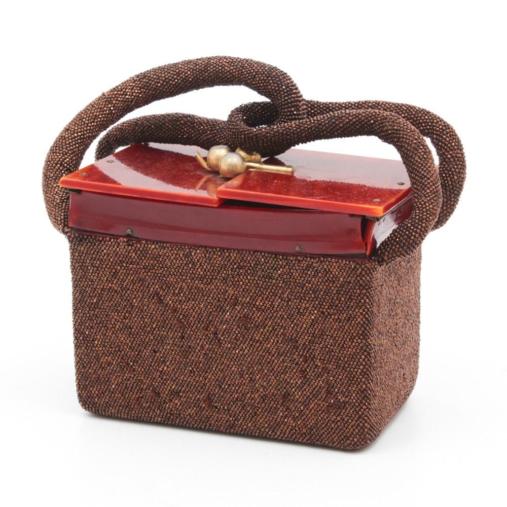 Vintage Beaded Handbag with Bakelite Lid