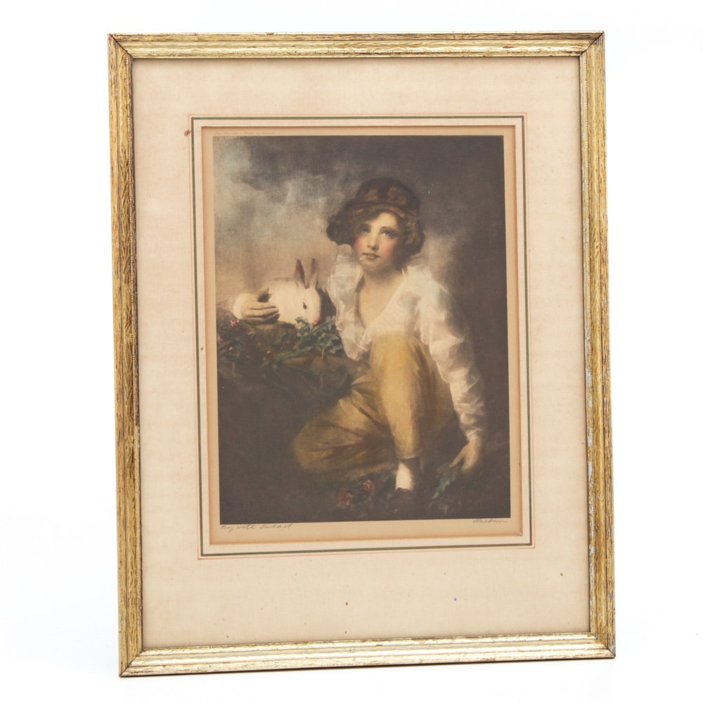 "Antique Color Lithograph after Henry Raeburn ""Boy with Rabbit"""