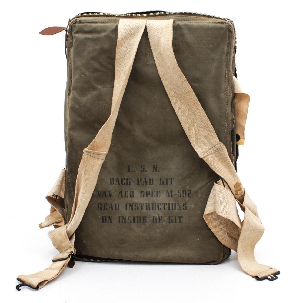 World War II U.S. Navy Parachute Back Pad and Emergency Kit