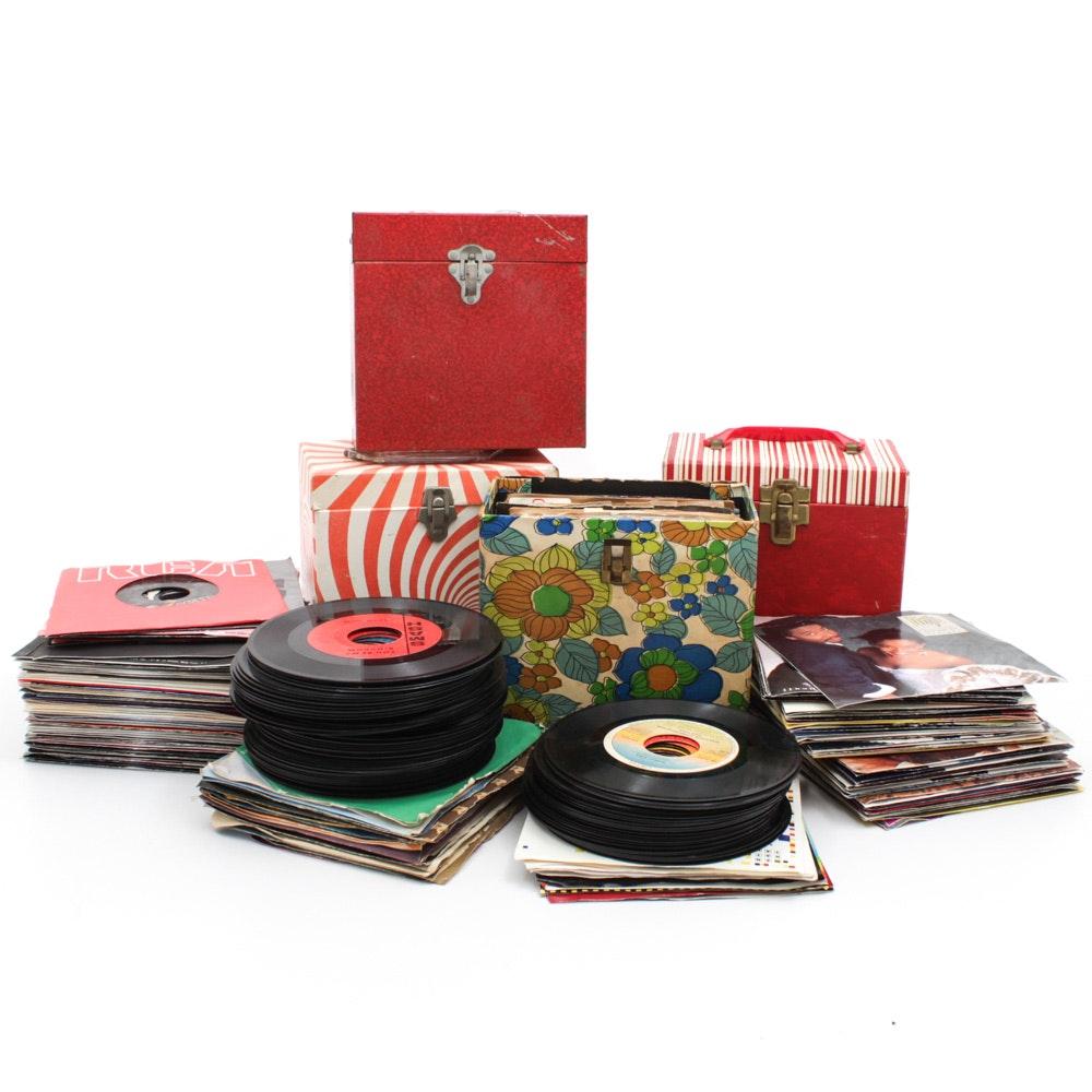 Vintage 45 RPM Records Featuring Elton John, Dean Martin, Dolly Parton