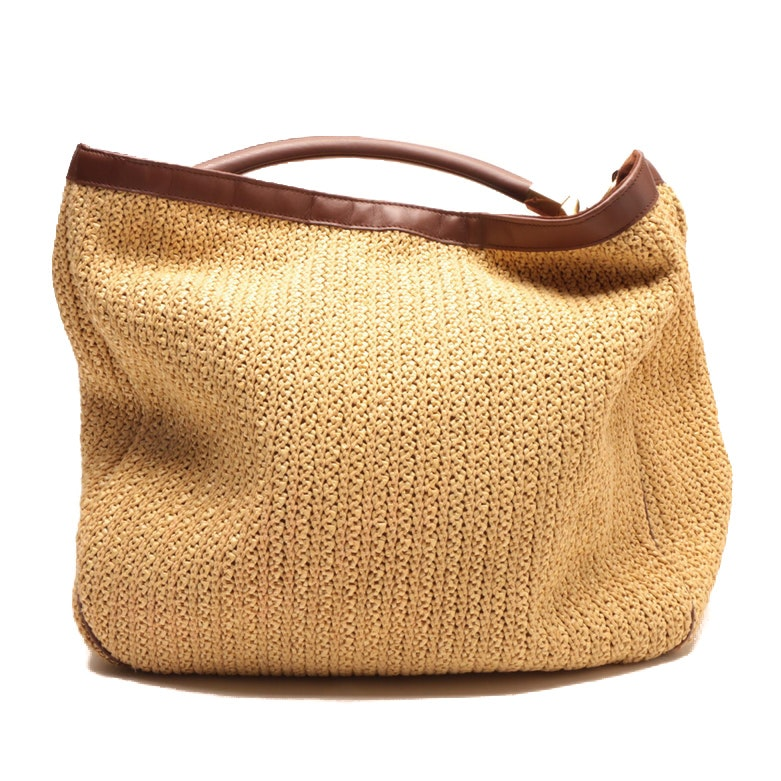 Yves Saint Laurent Natural Roady Woven Straw and Leather Hobo Bag