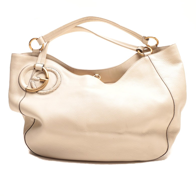 Gucci Cream Leather Hobo Bag