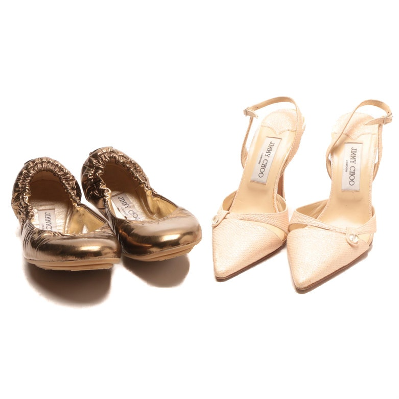 Jimmy Choo Embossed Leather Heels and Patent Leather Flats