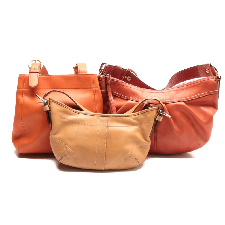 Coach Orange Waverly Soho Shopper and Soho Hobo Handbags