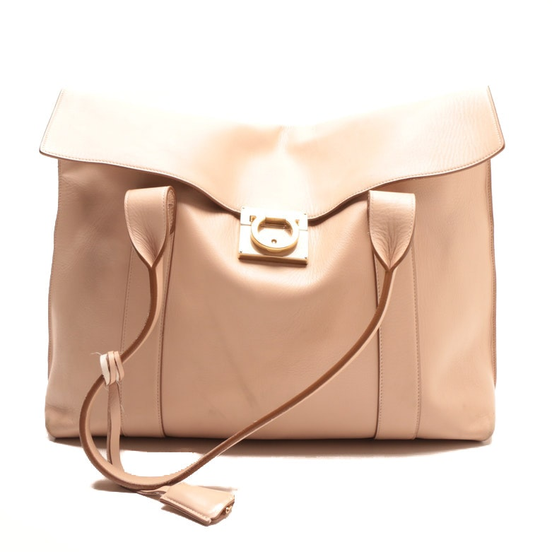Salvatore Ferragamo Sookie Beige Leather Satchel