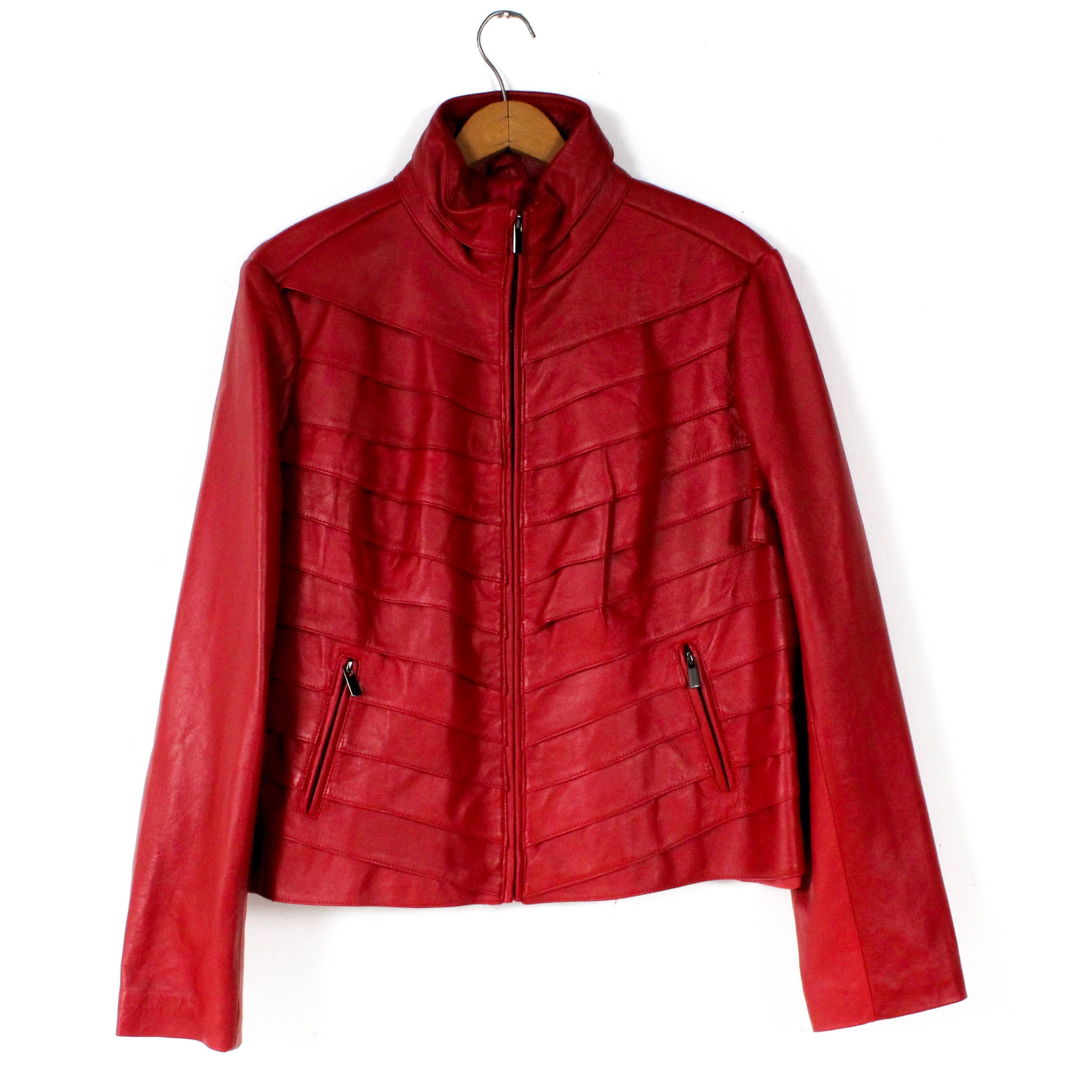 Neiman Marcus Exclusive Red Leather Jacket with Slanted Cut