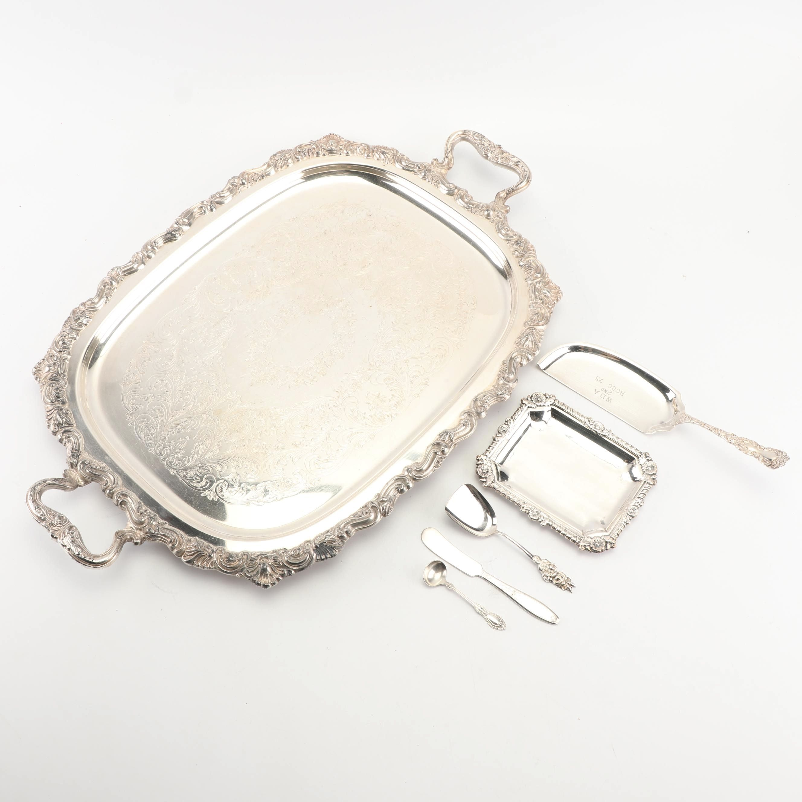 Sheridan Silver Co. Serving Tray with Other Silver Plate Tableware