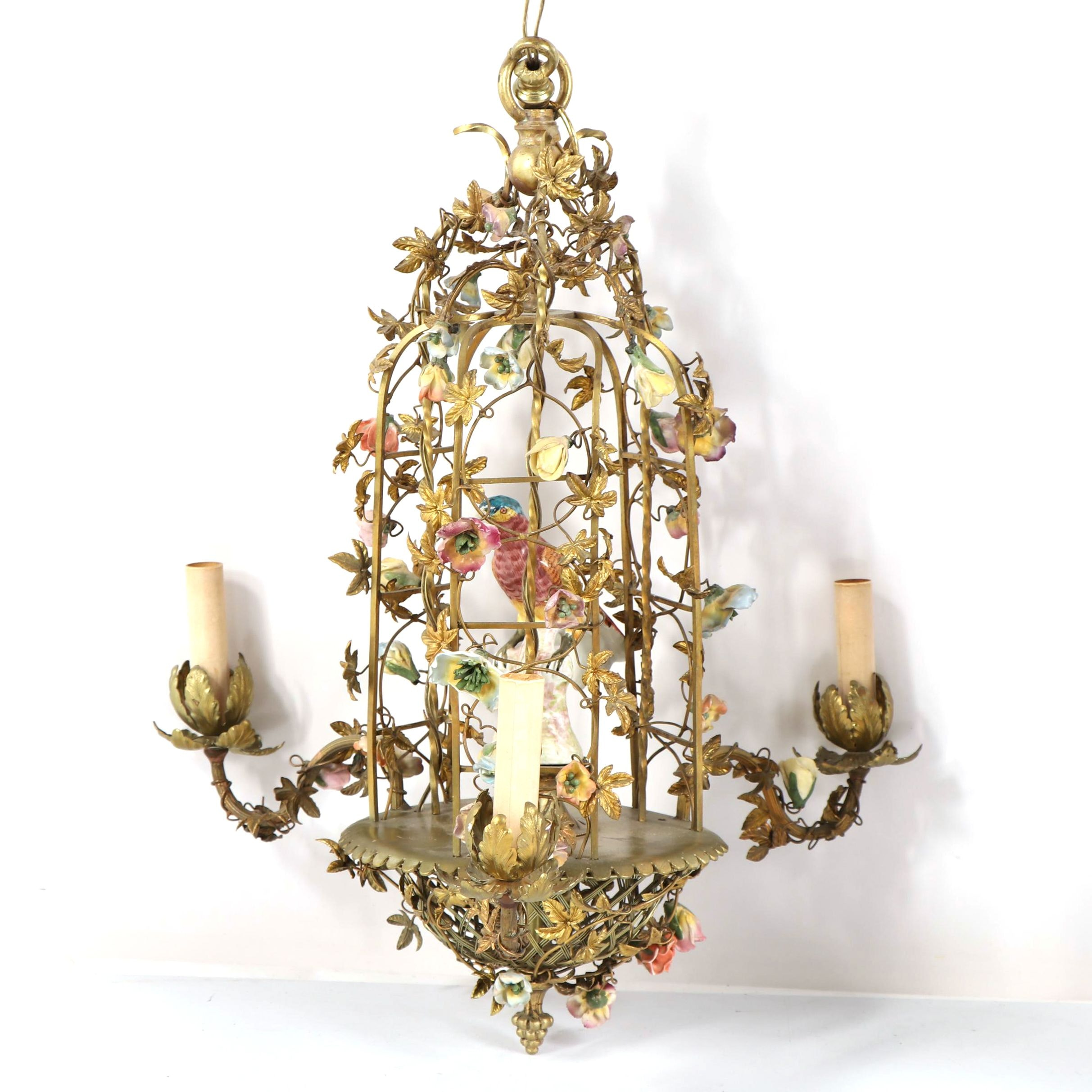 Antique French Ormolu Birdcage Chandelier with Porcelain Bird and Flowers