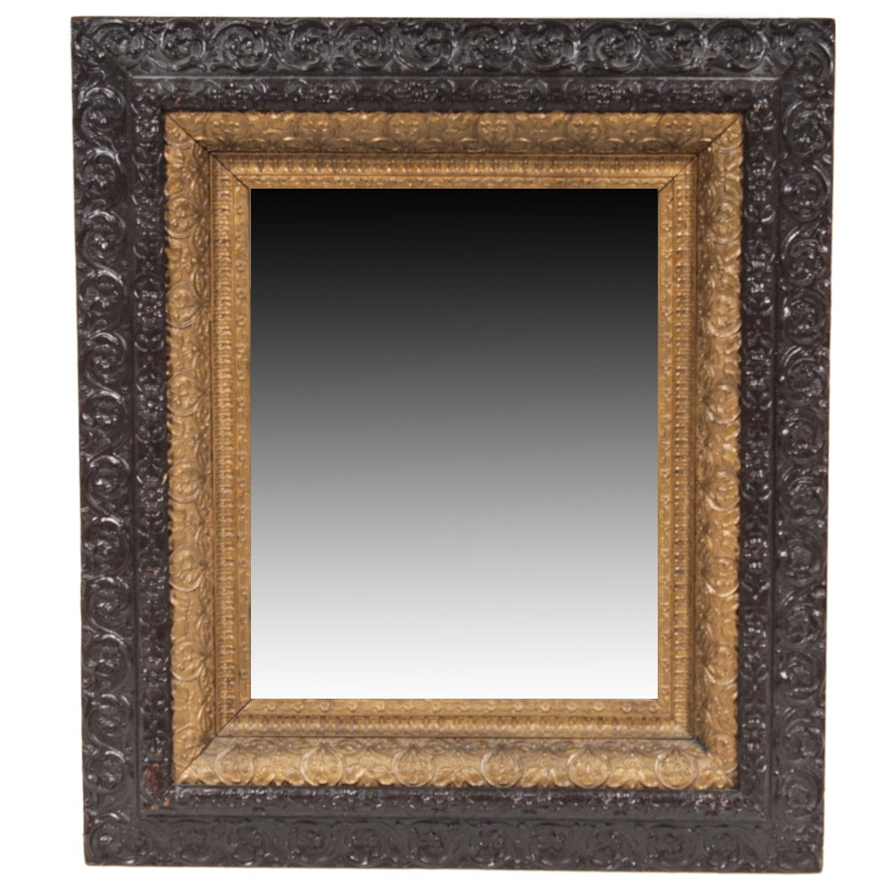 Antique Carved Wood Wall Mirror