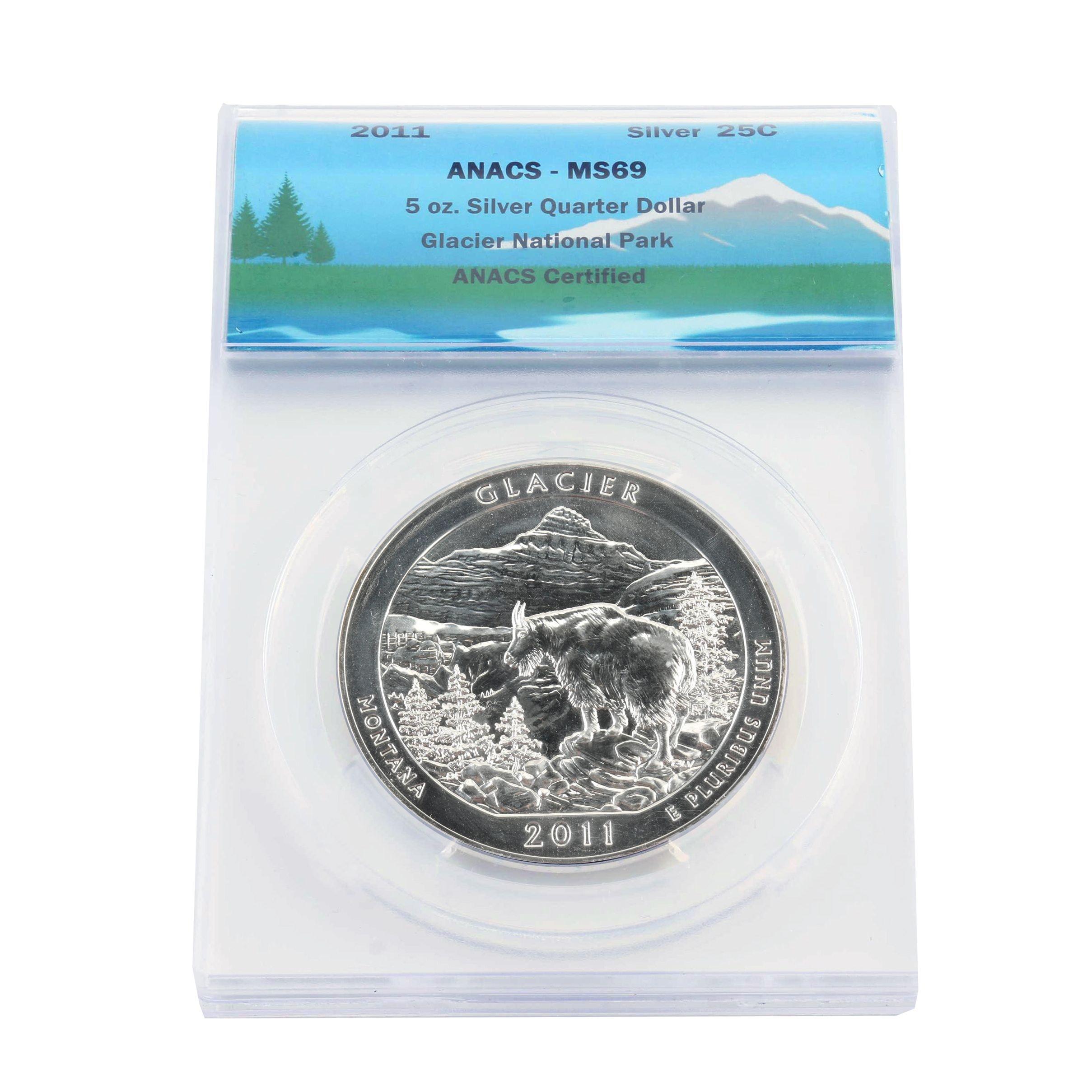 ANACS Graded MS69 5 Oz. Glacier National Park Silver Bullion Coin