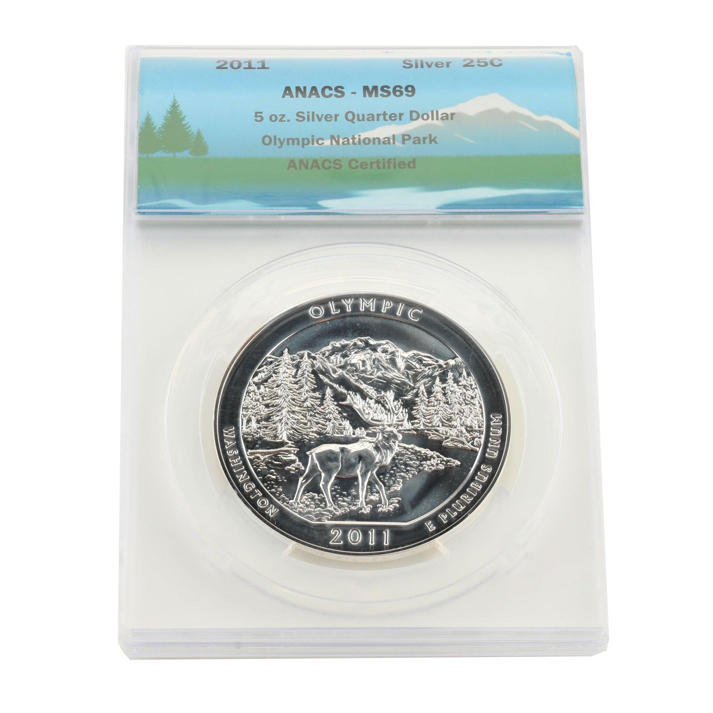 ANACS Graded MS69 5 Oz. Olympic National Park Silver Bullion Coin