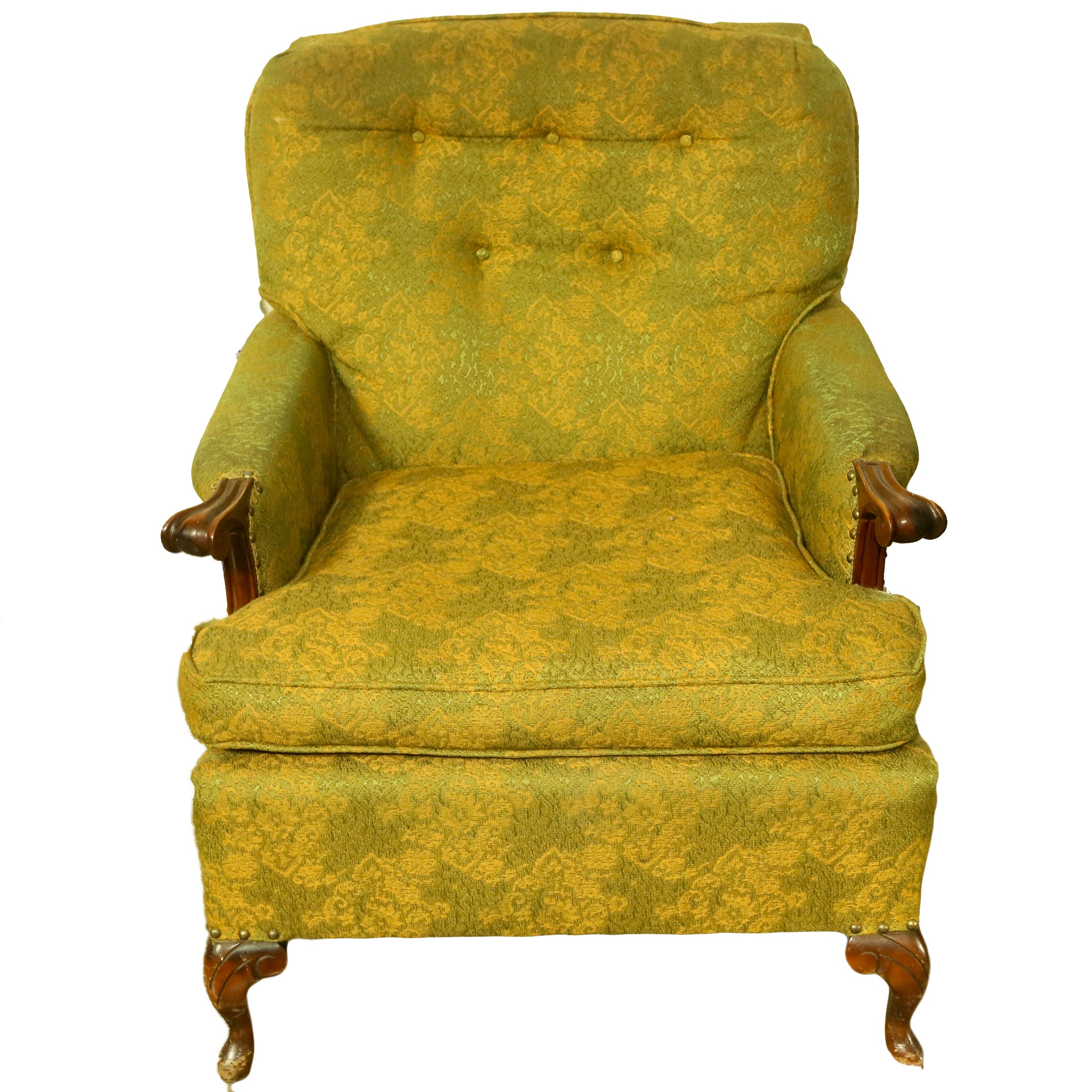 Vintage Queen Anne Style Upholstered Armchair
