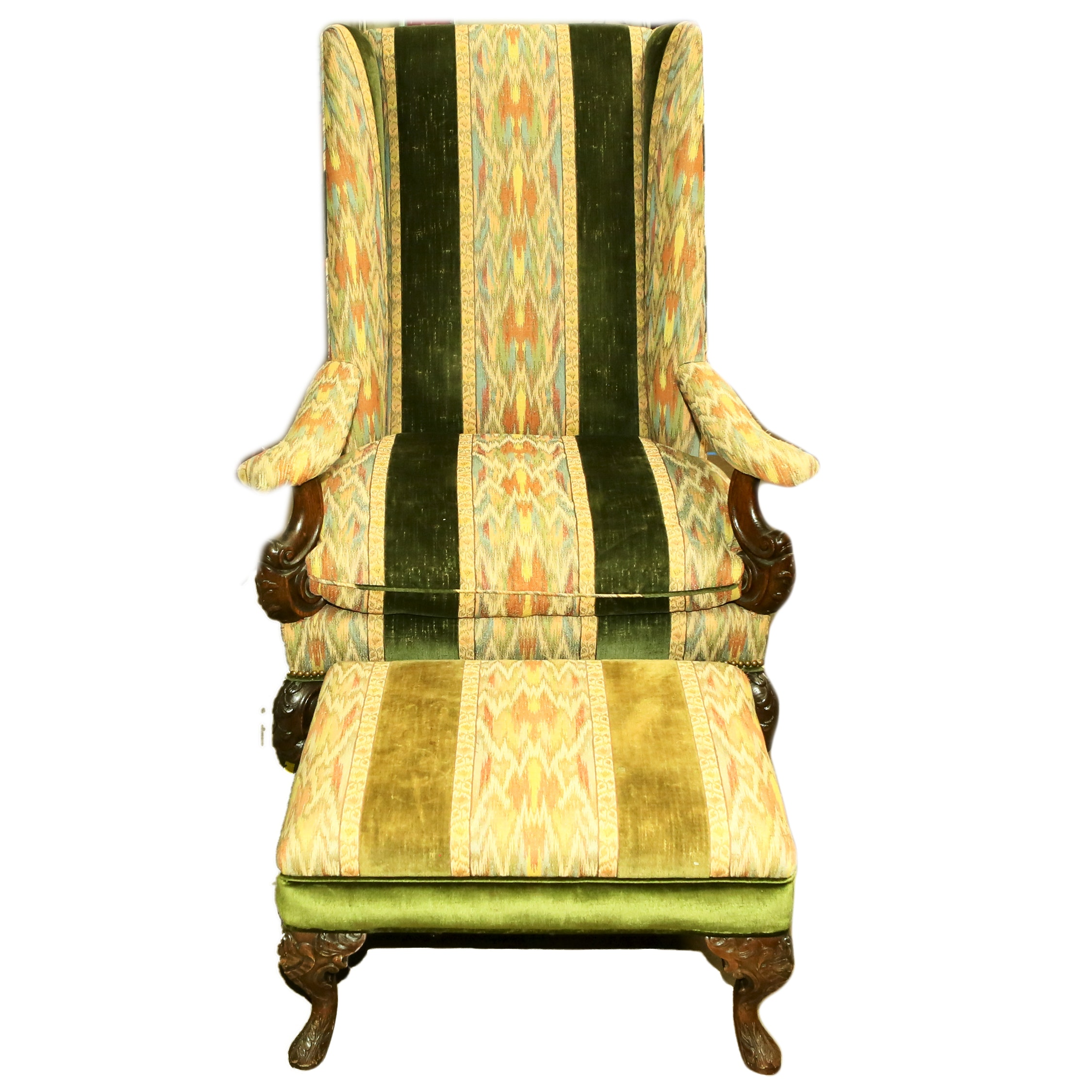 Queen Anne Style Wingback Chair and Ottoman