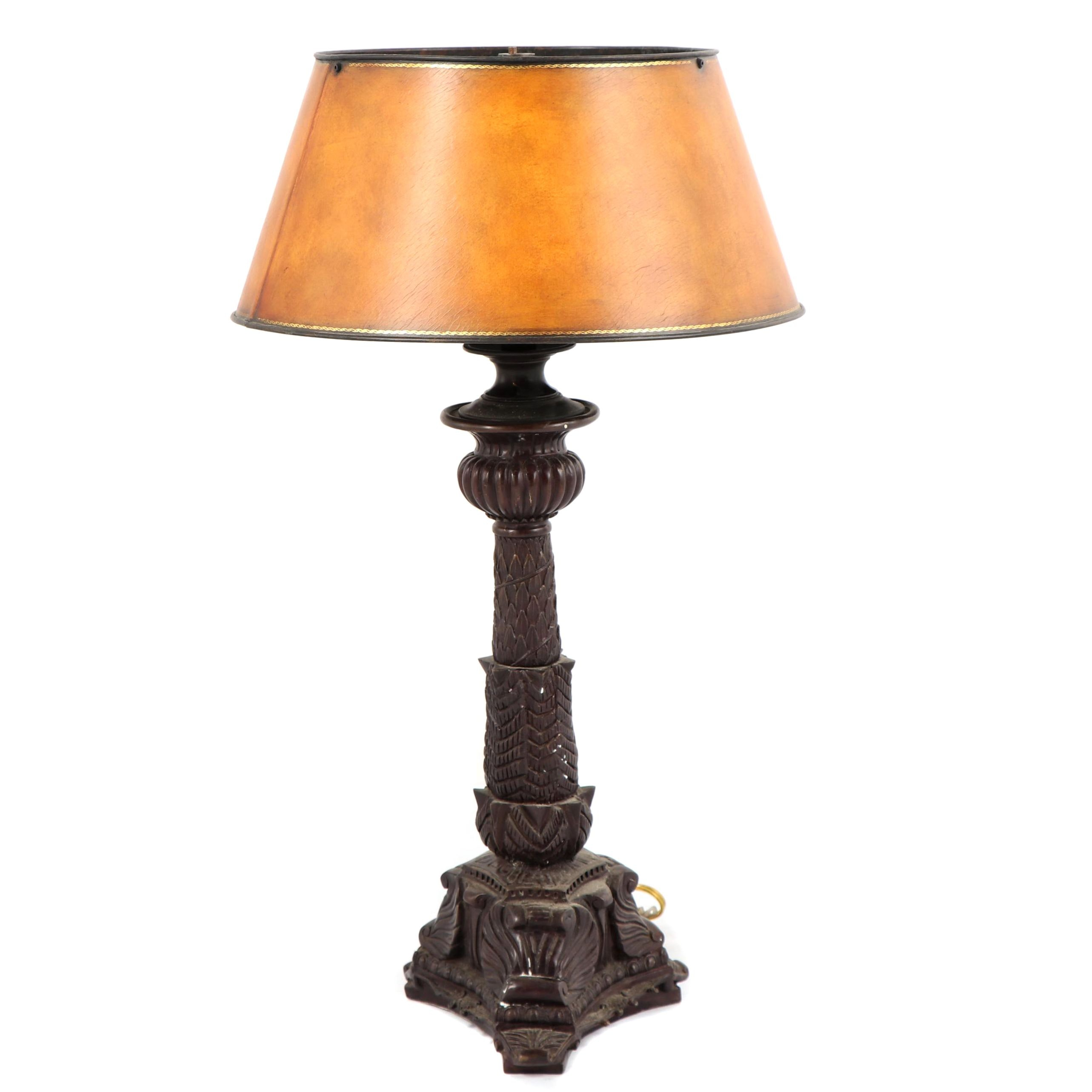 Maitland Smith Cast Metal Columnar Table Lamp with Faux Leather Metal Shade