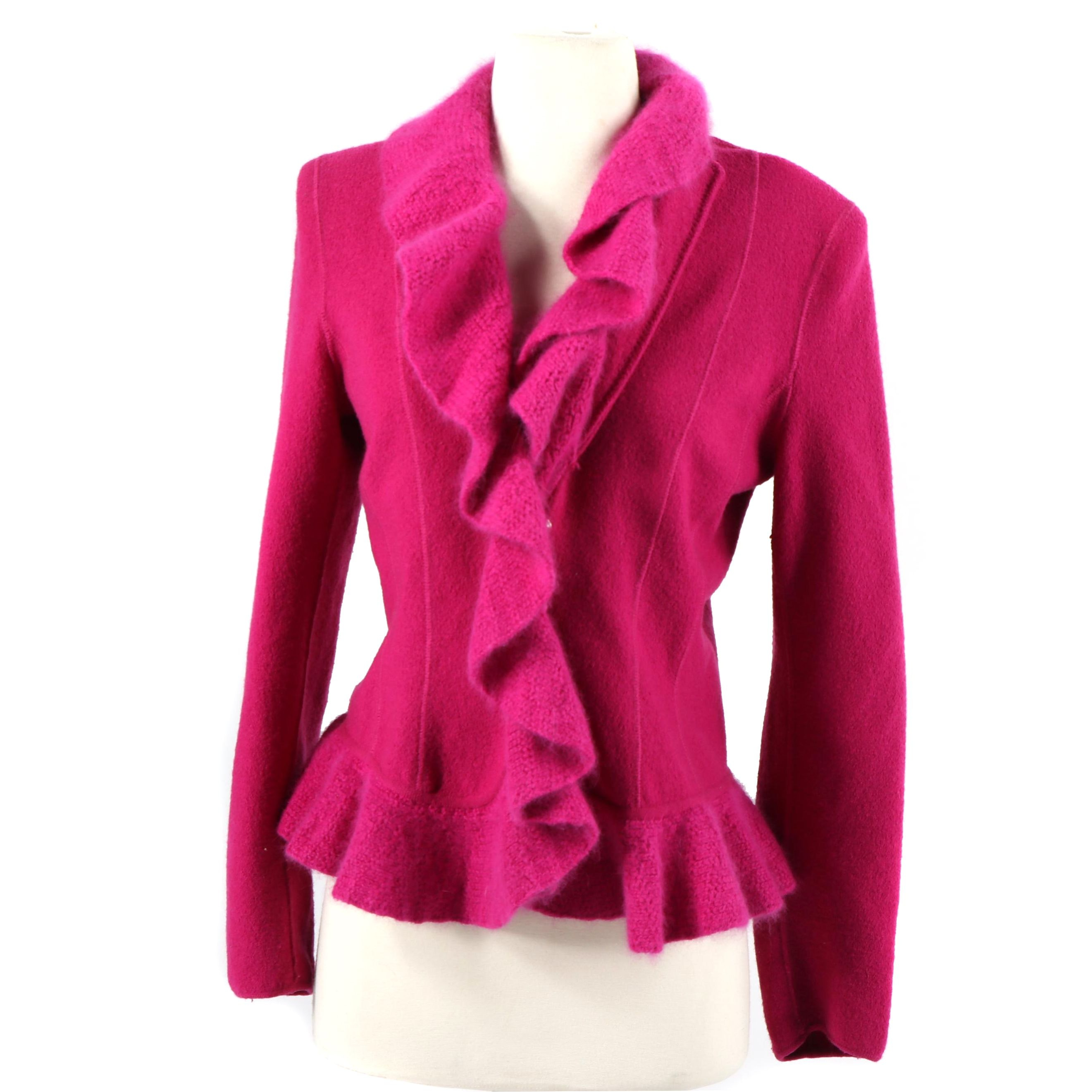 AX Armani Exchange Fuchsia Wool and Angora Blend Ruffled Sweater Jacket