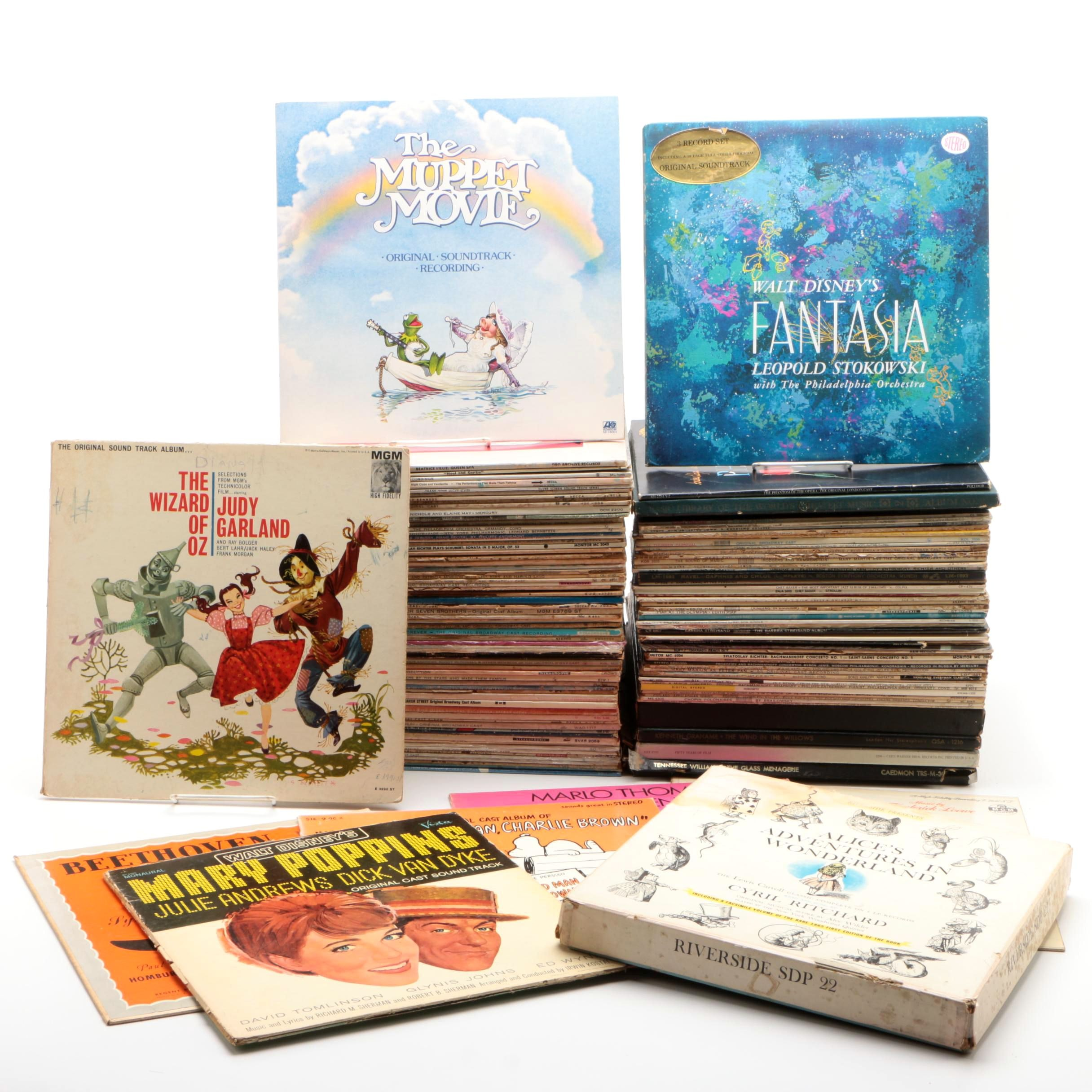 Large Collection of Broadway, Musical, and Children's Vinyl Records
