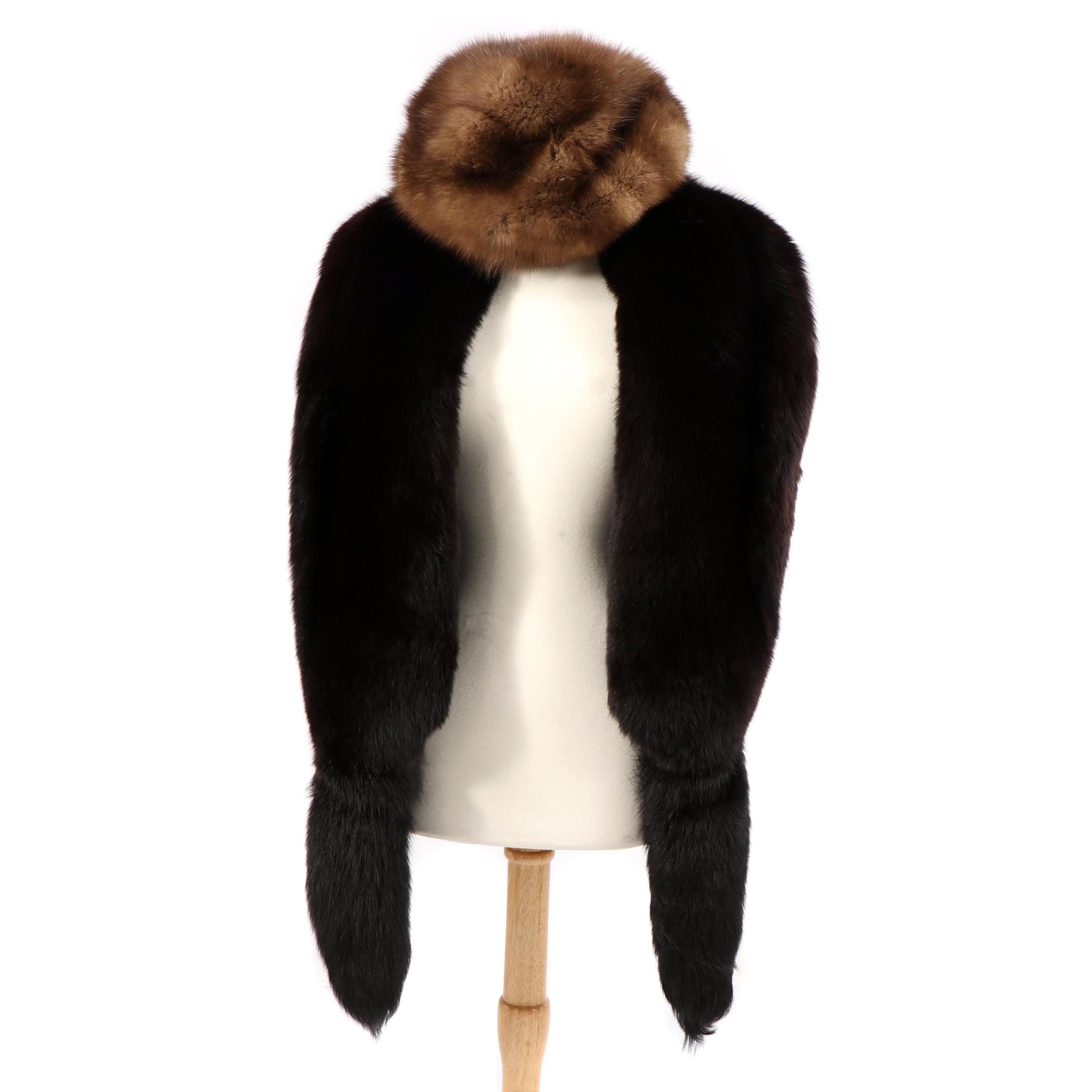 Vintage Fox Fur Stole with Mink Fur Hat