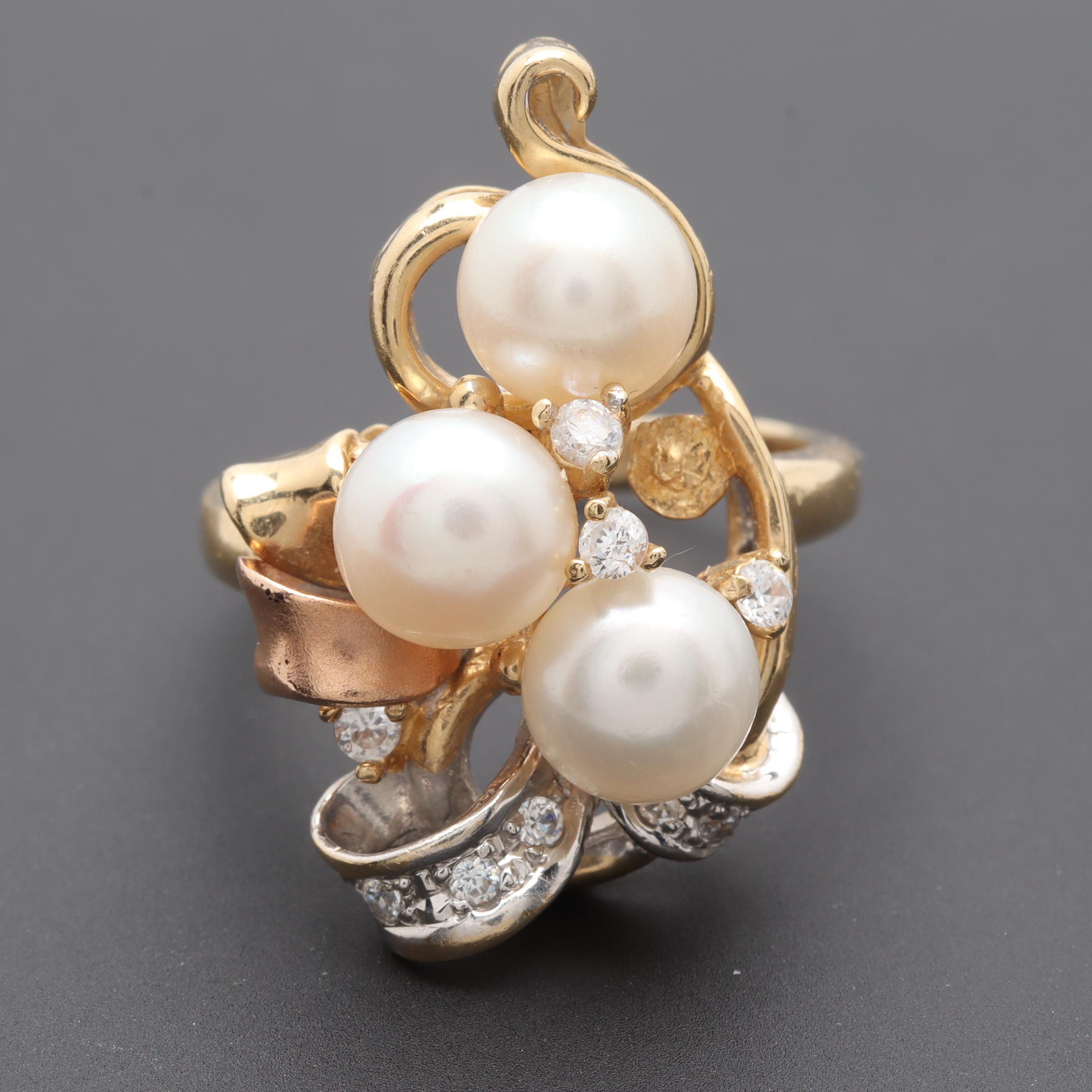 14K Tri Color Gold Cultured Pearl and Cubic Zirconia Ring