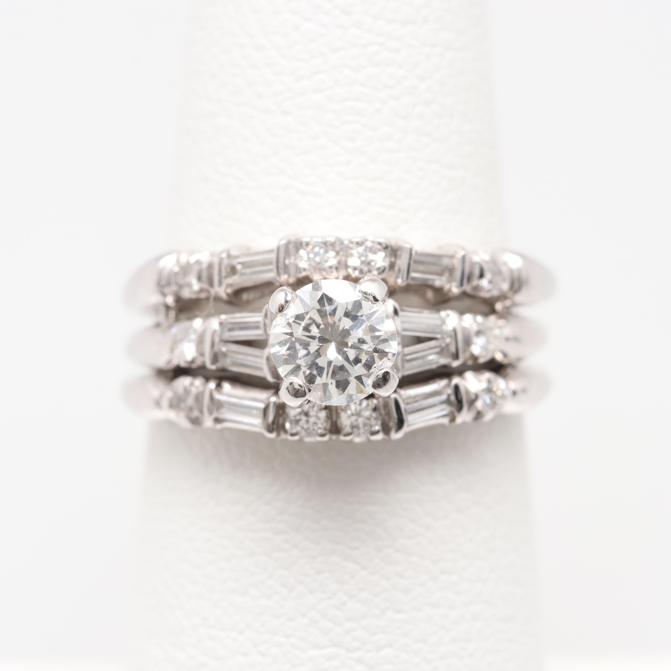 14K and 18K White Gold 1.08 CTW Diamond Wedding Ring Set
