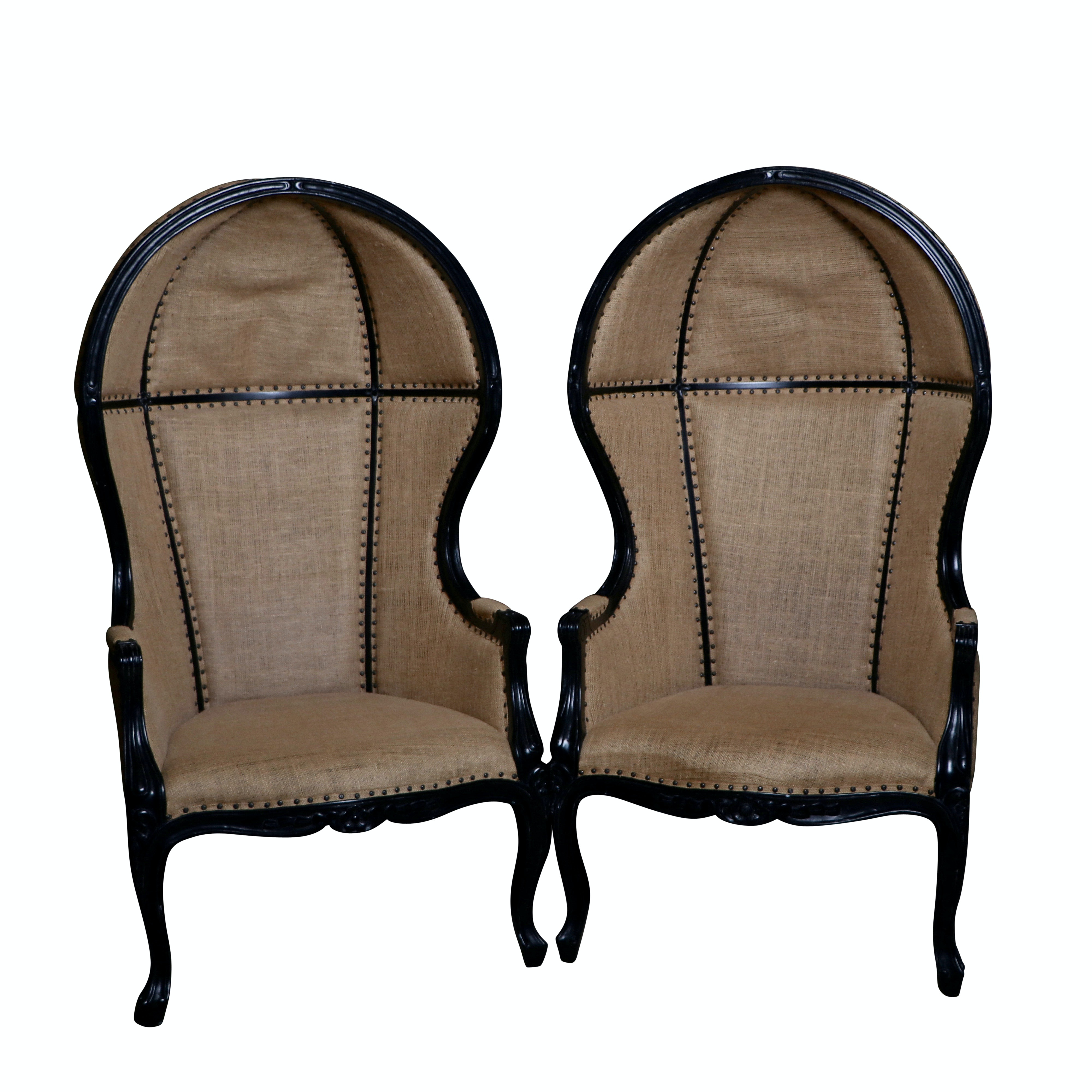 Pair of Louis XV Style Porter Chairs