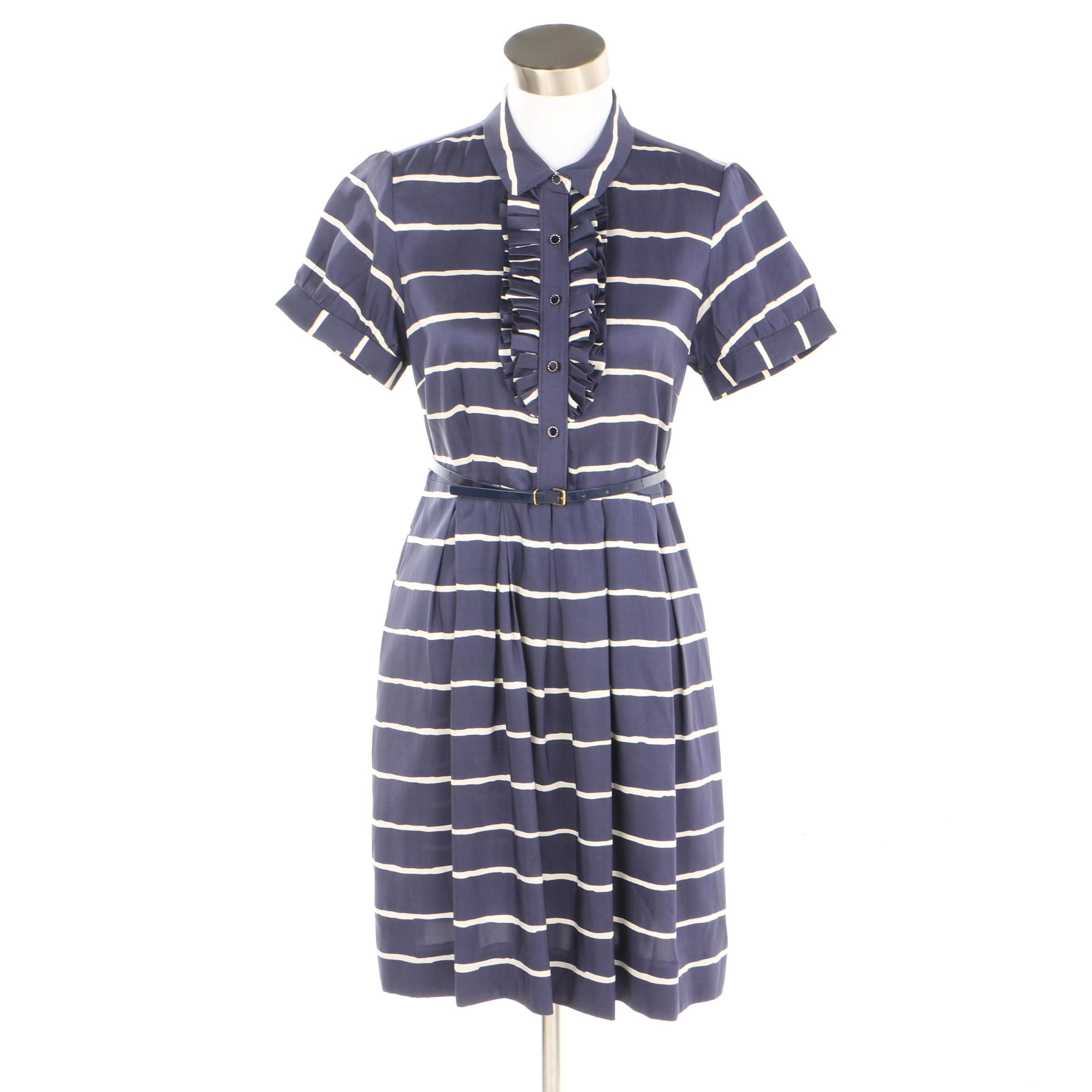 Kate Spade New York Navy and White Striped Silk Dress