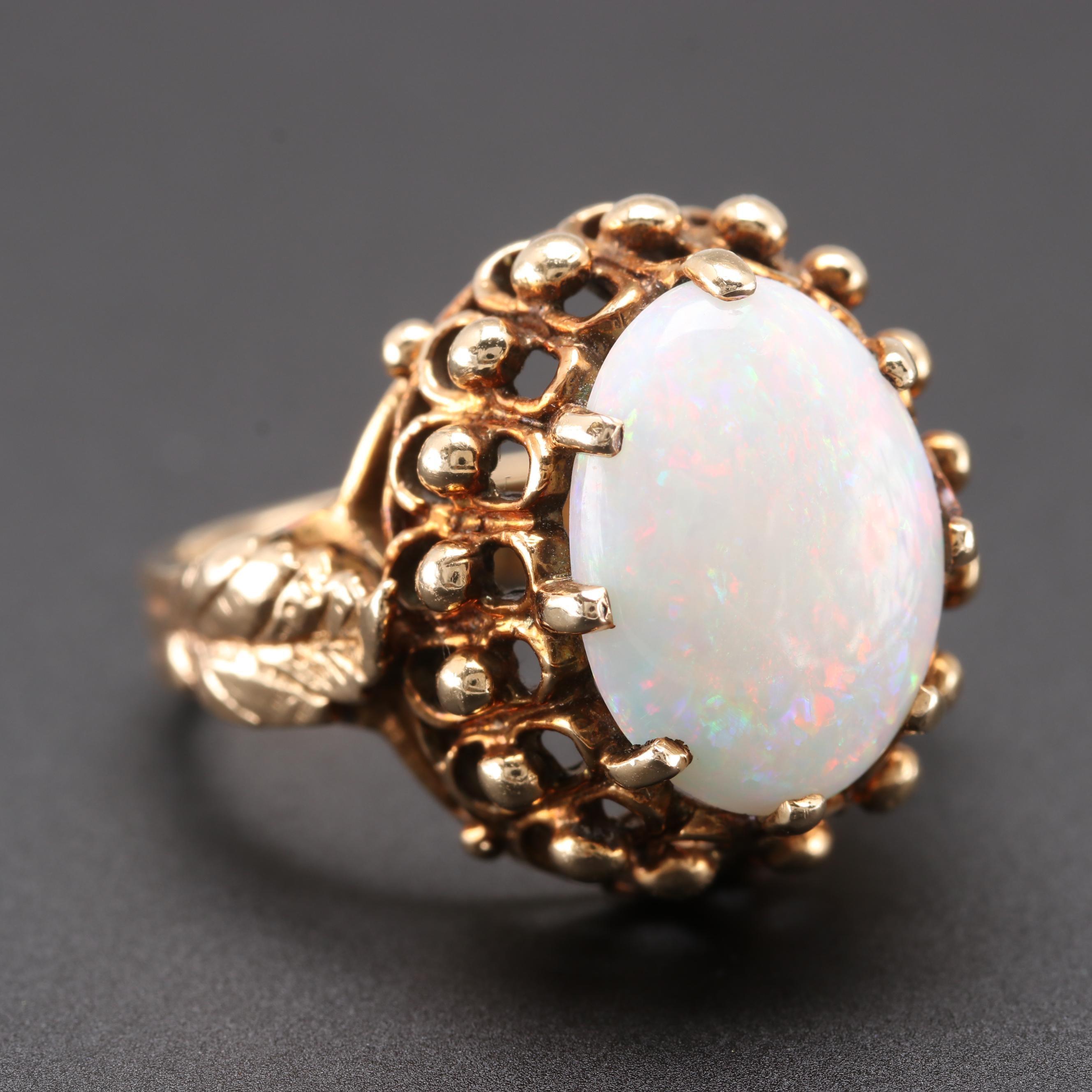 14K Yellow Gold Opal Foliate Ring