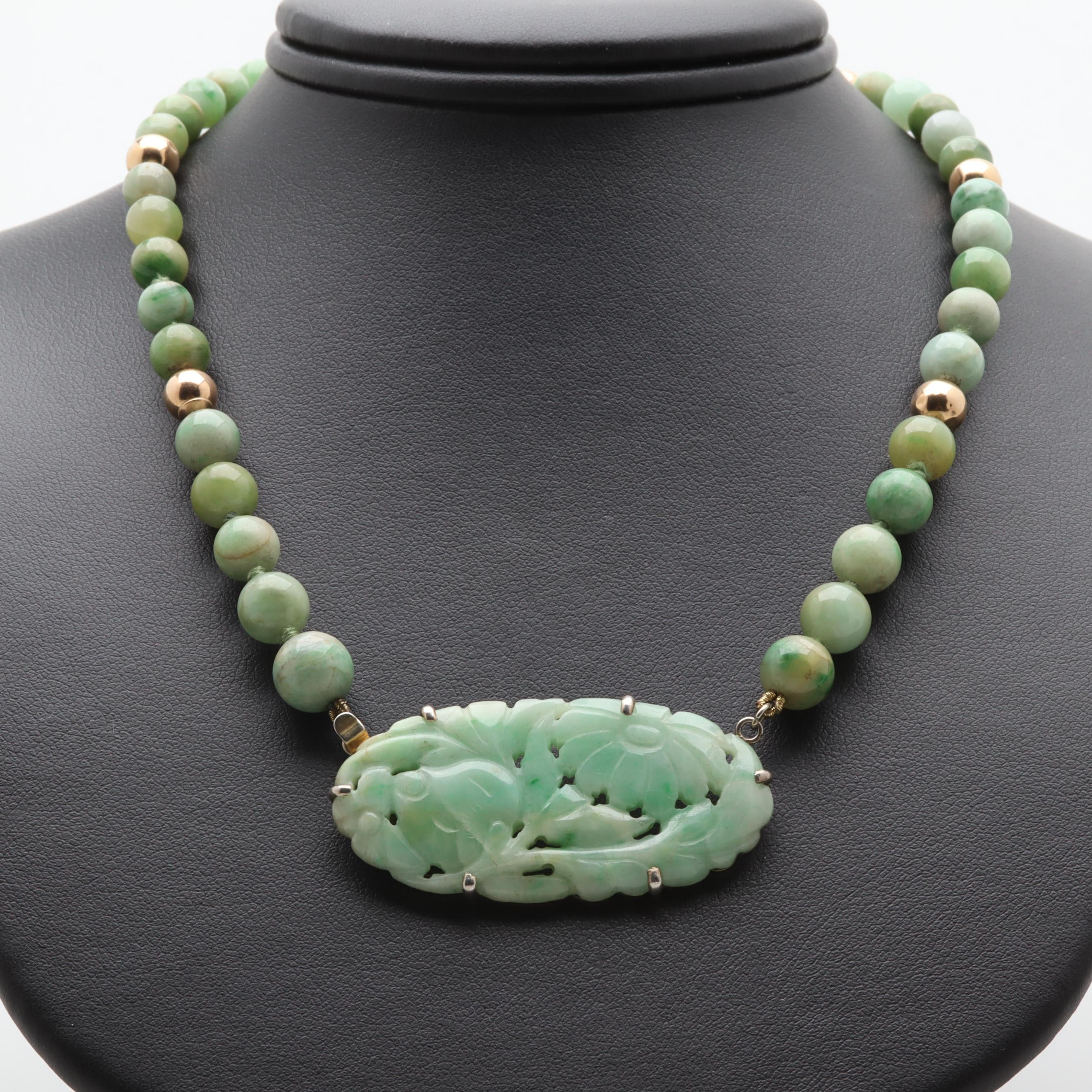 Sterling Silver and 14K Yellow Gold Jadeite Necklace