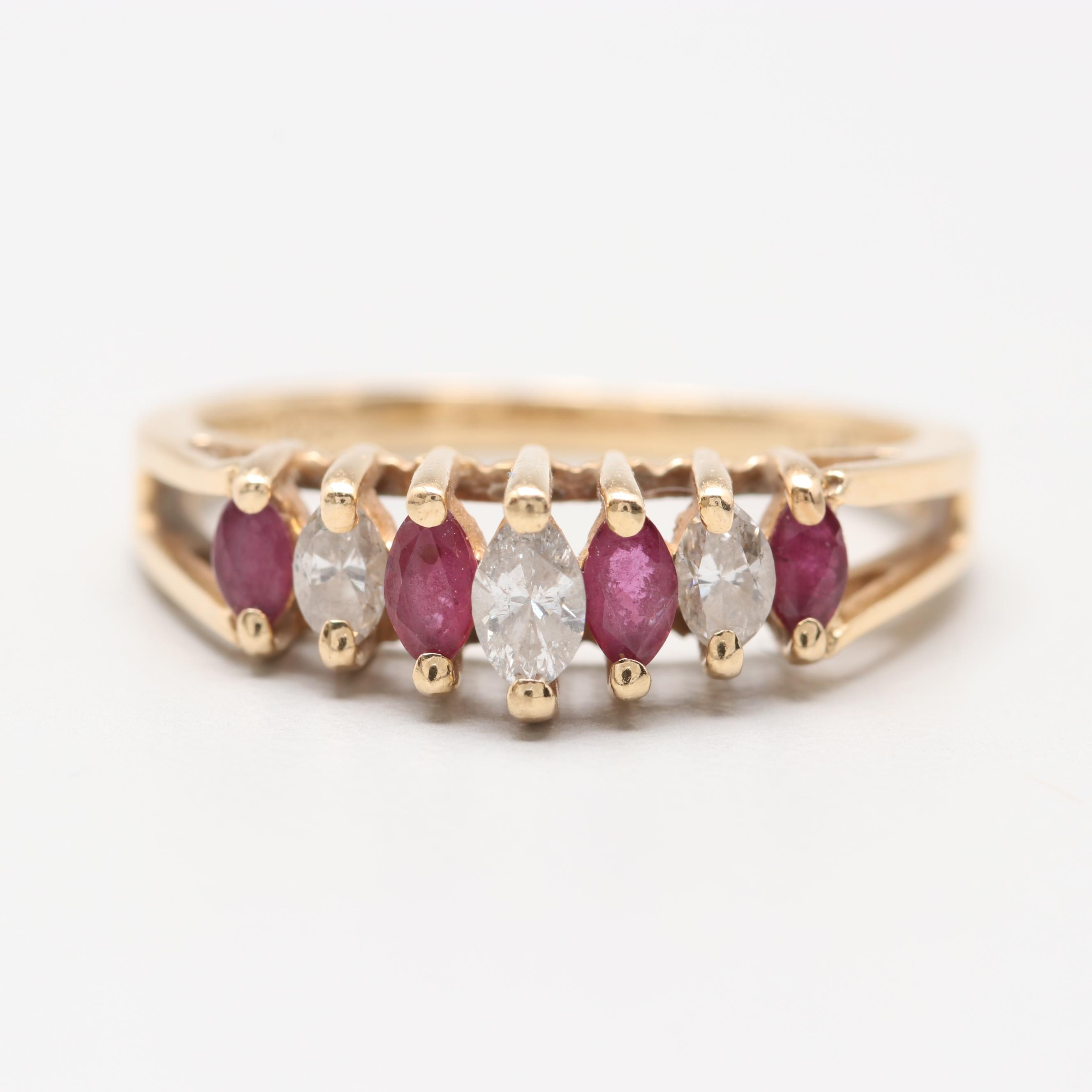 14K Yellow Gold Diamond and Ruby Step Ring