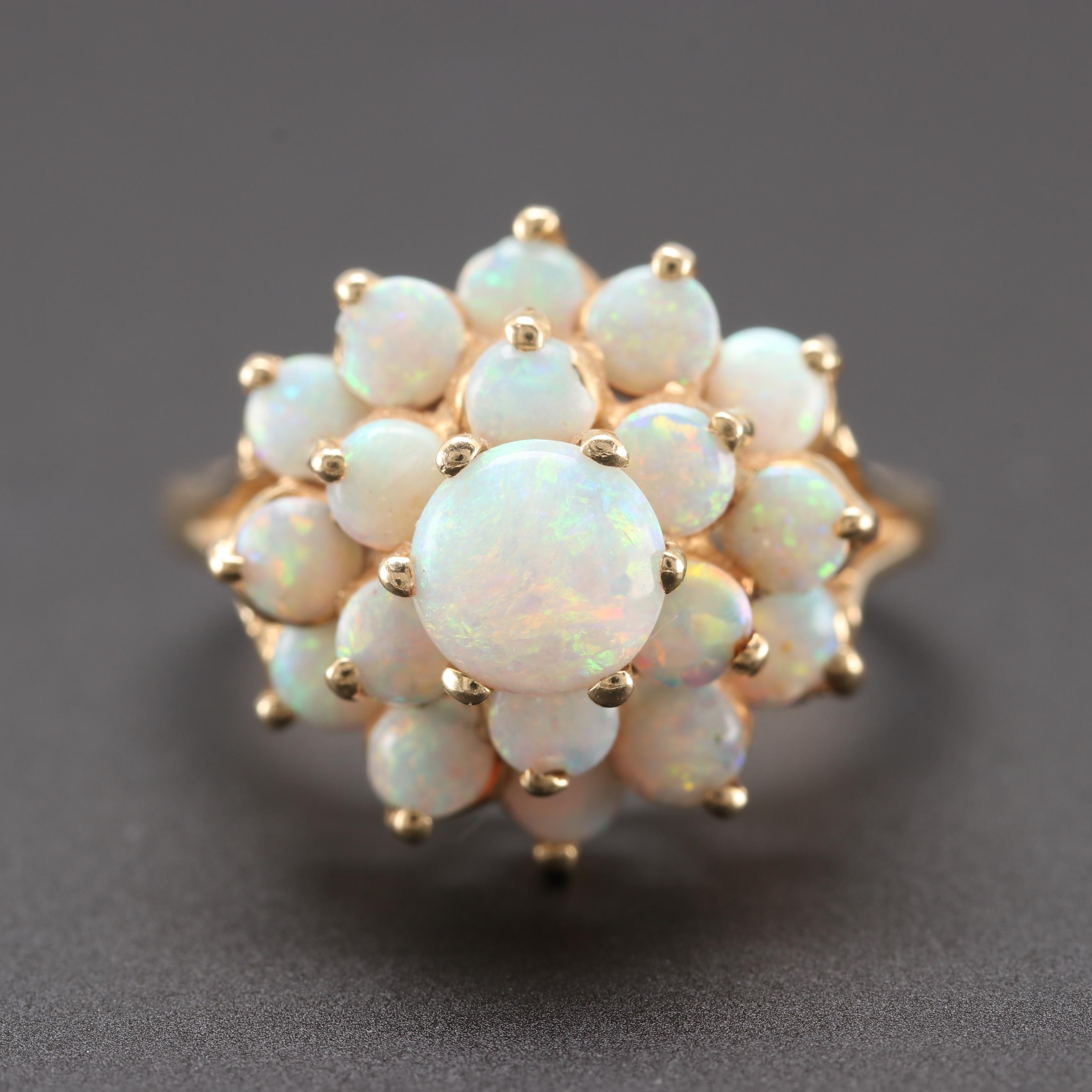 14K Yellow Gold Opal Cluster Ring