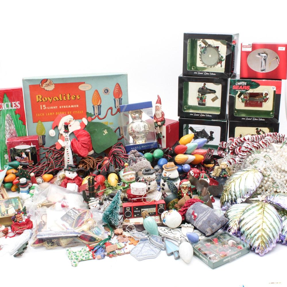 """Christmas Ornaments with Vintage """"Royalites"""" Lighting"""
