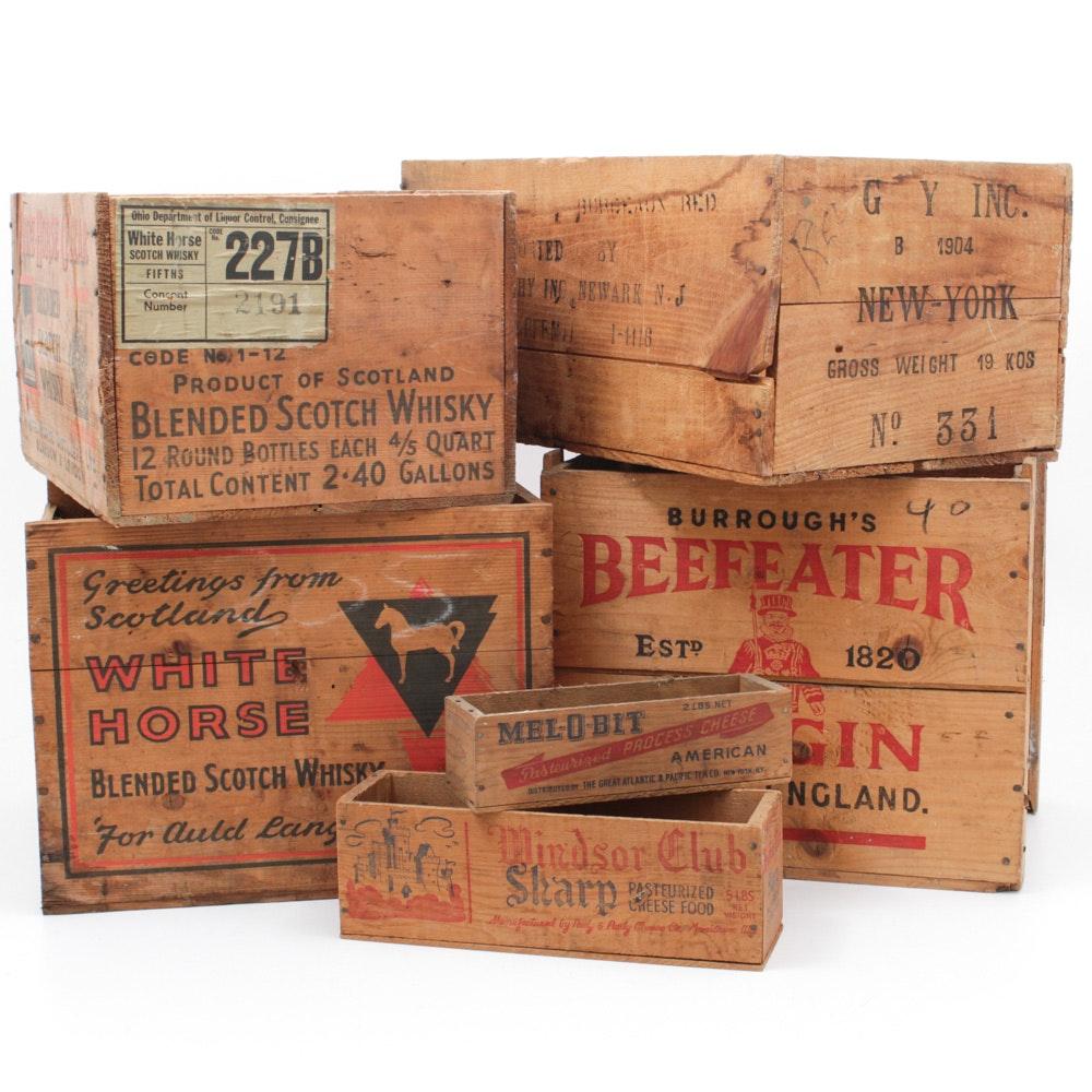 Vintage Wooden Liquor Boxes