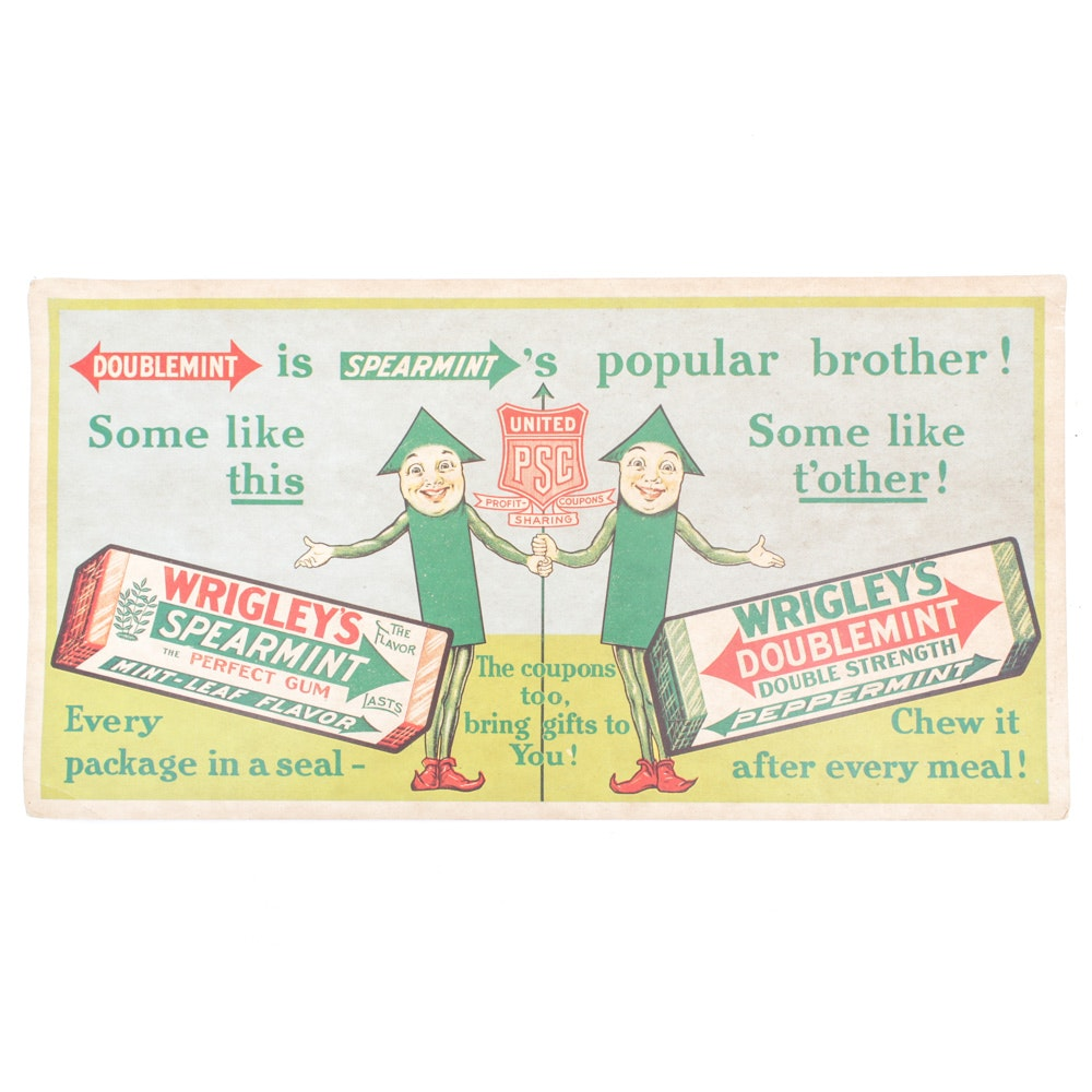 "Vintage Wrigley's ""Doublemint"" Advertising Sign"