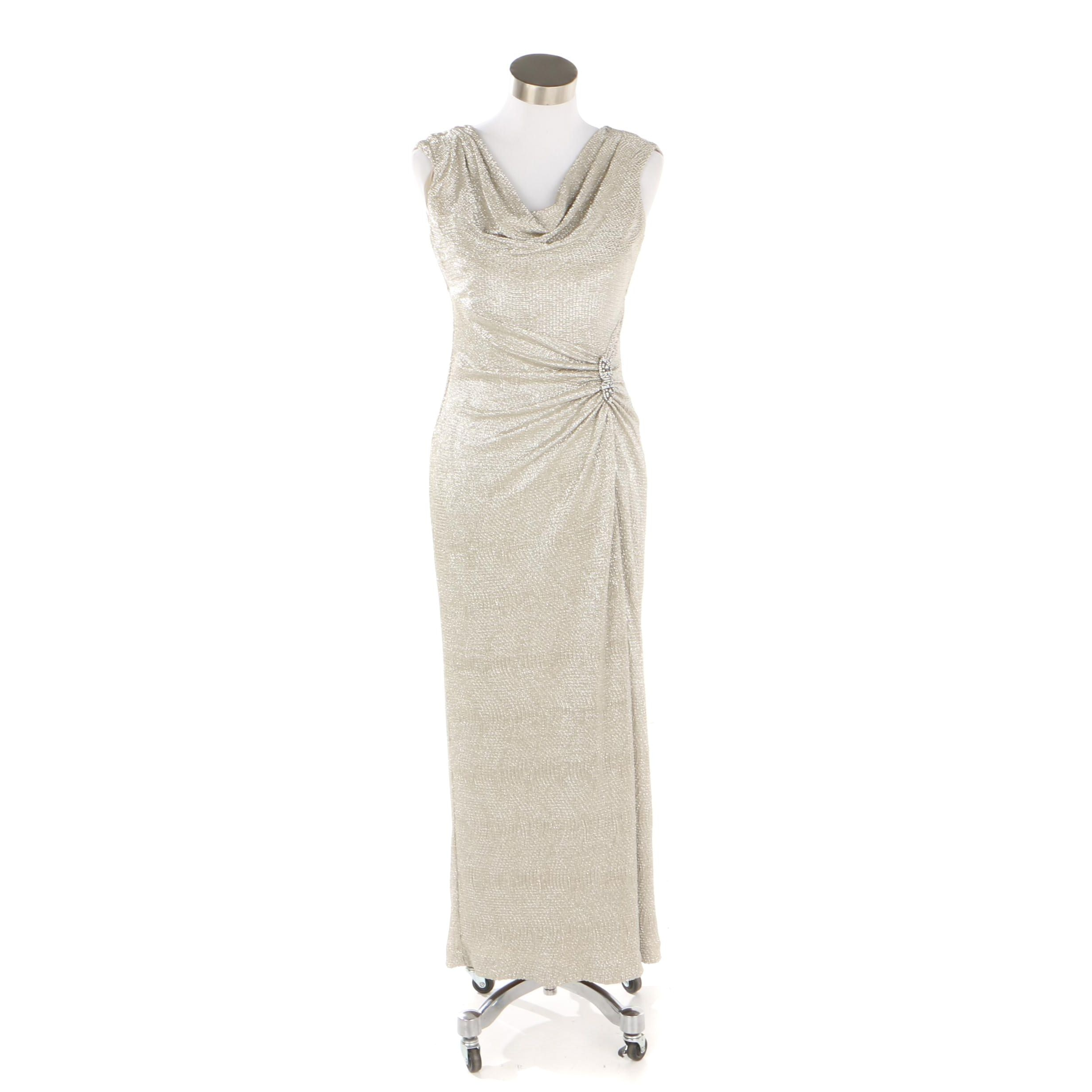Lauren Ralph Lauren Metallic Sleeveless Evening Dress