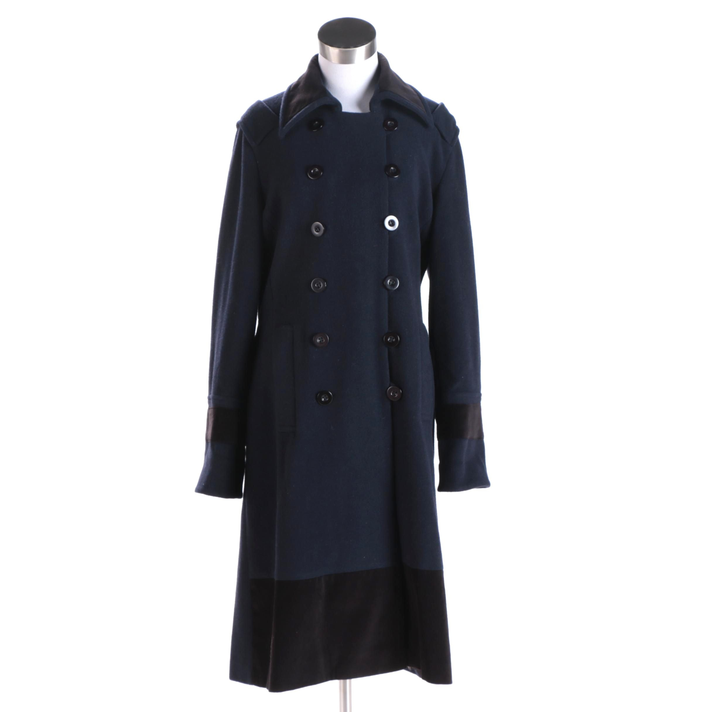 Women's Chloé Navy and Black Wool Double-Breasted Coat