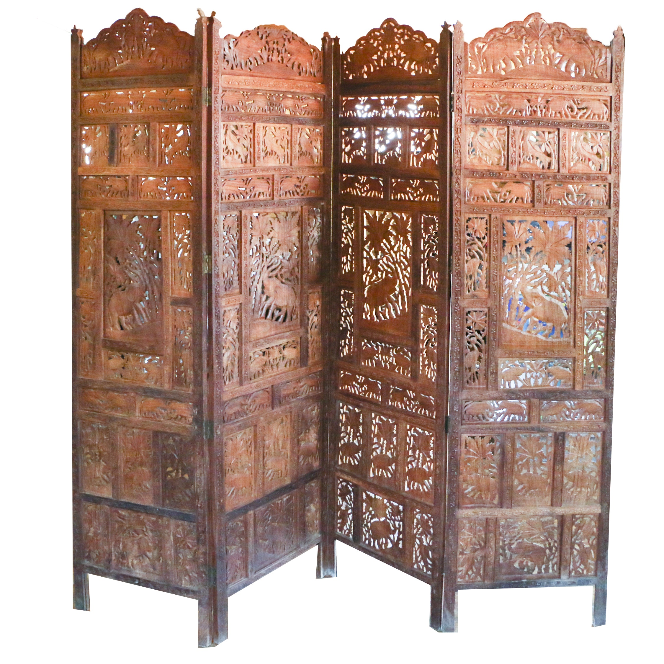 Indian Carved Four Panel Elephant Motif Room Screen