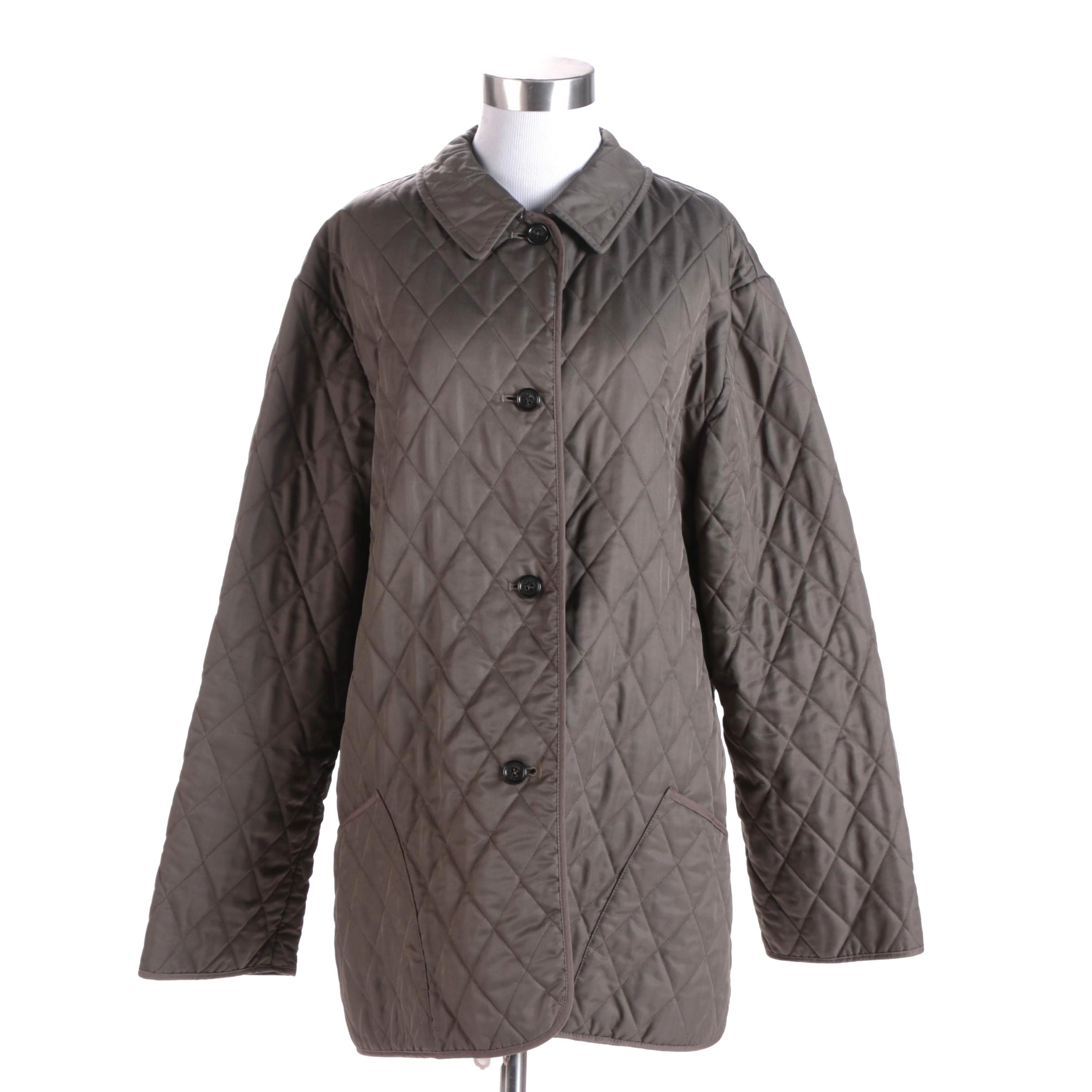 Women's Burberry London Dark Olive Green Quilted Jacket