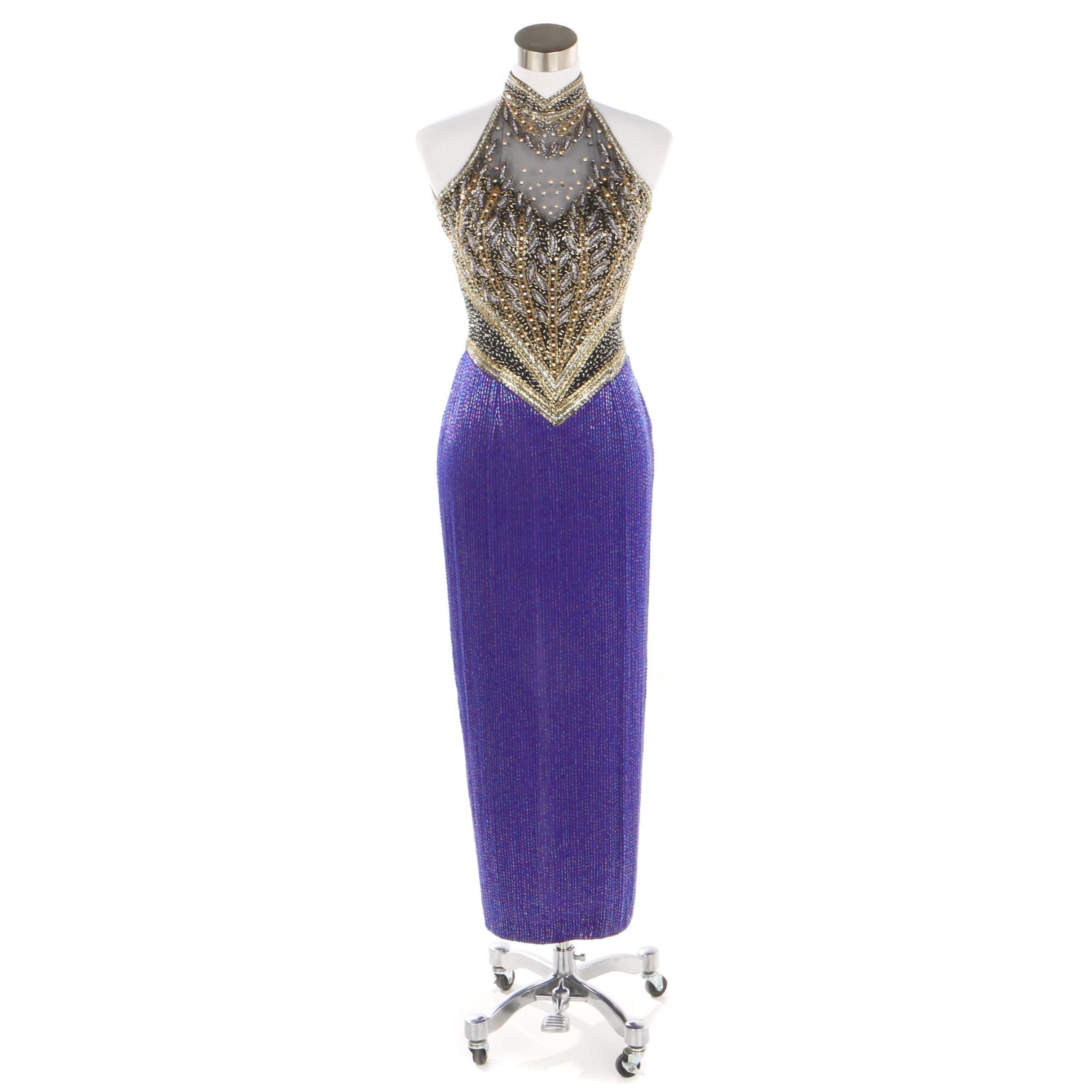Fully Beaded Purple and Metallic Gold Halter Evening Gown