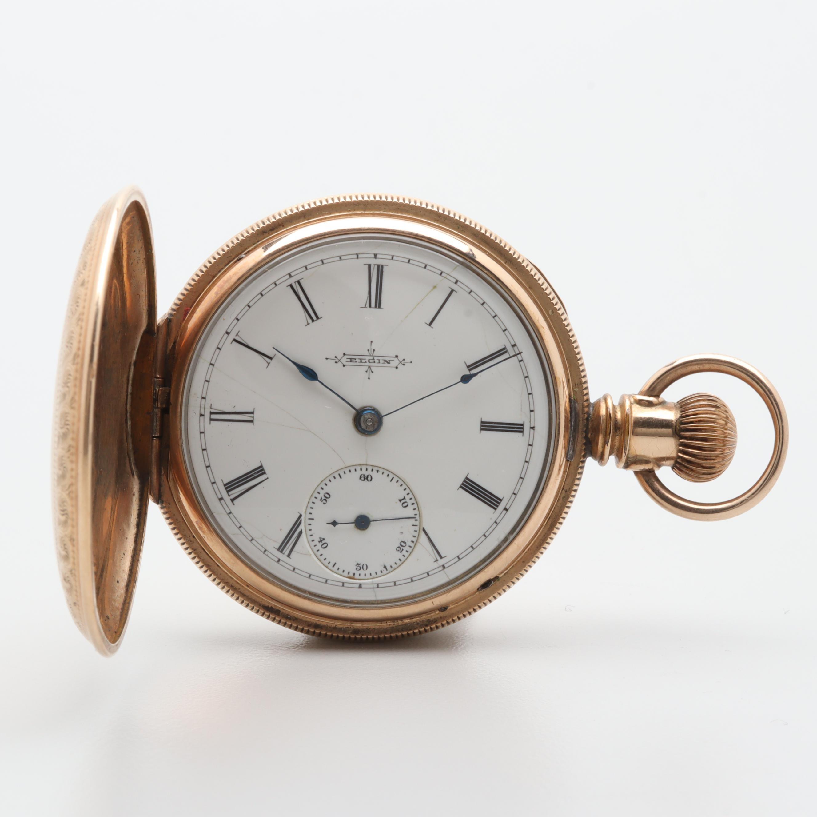 Circa 1881 Elgin Gold-Filled White Dial Pocket Watch