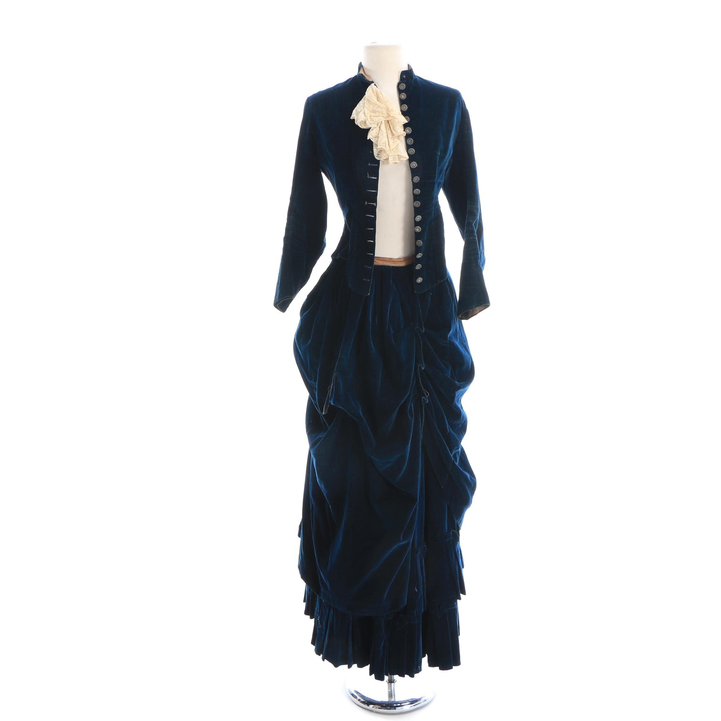 Circa 1880s Reproduction Midnight Blue Velveteen Riding Habit