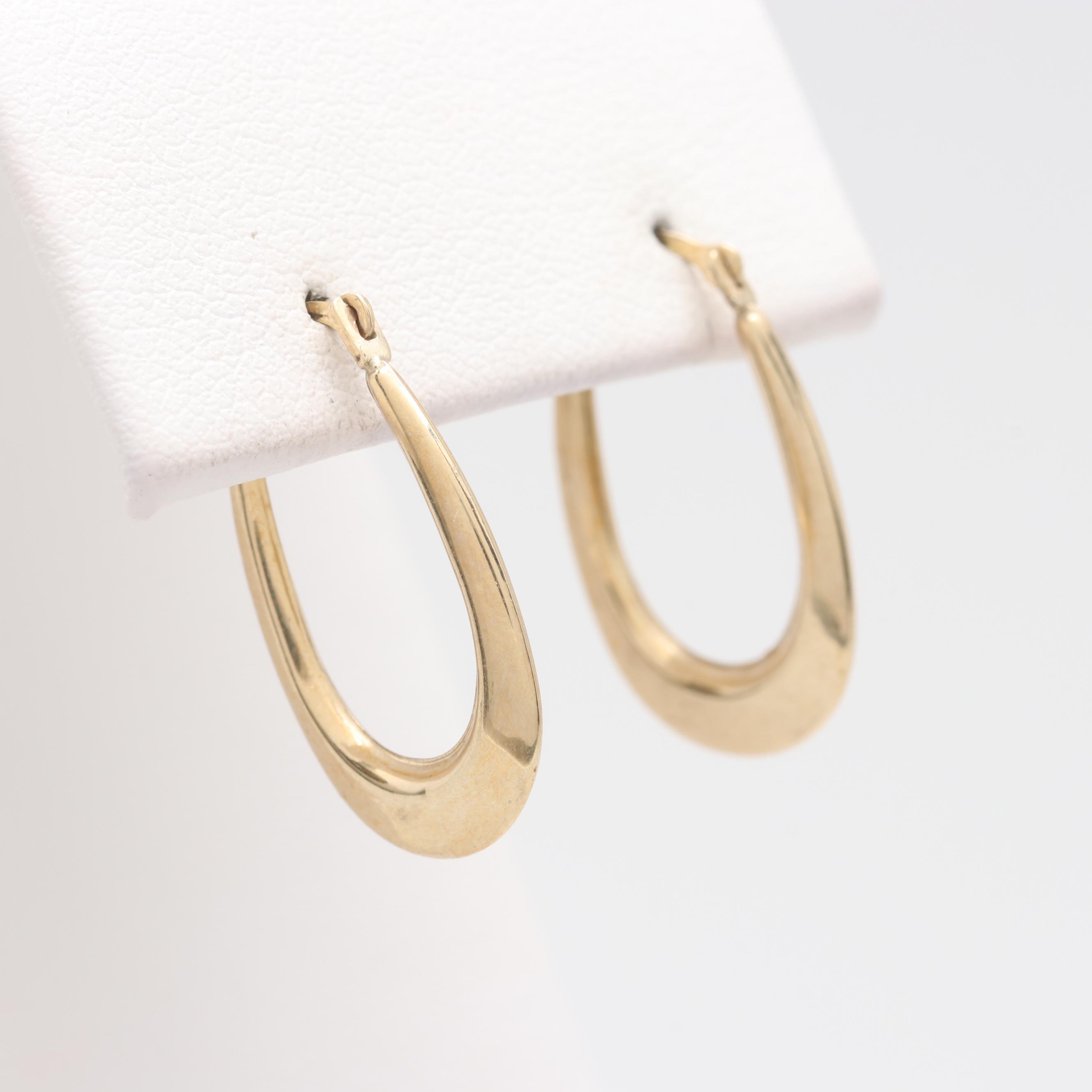 10K Yellow Gold Elongated Hoop Earrings