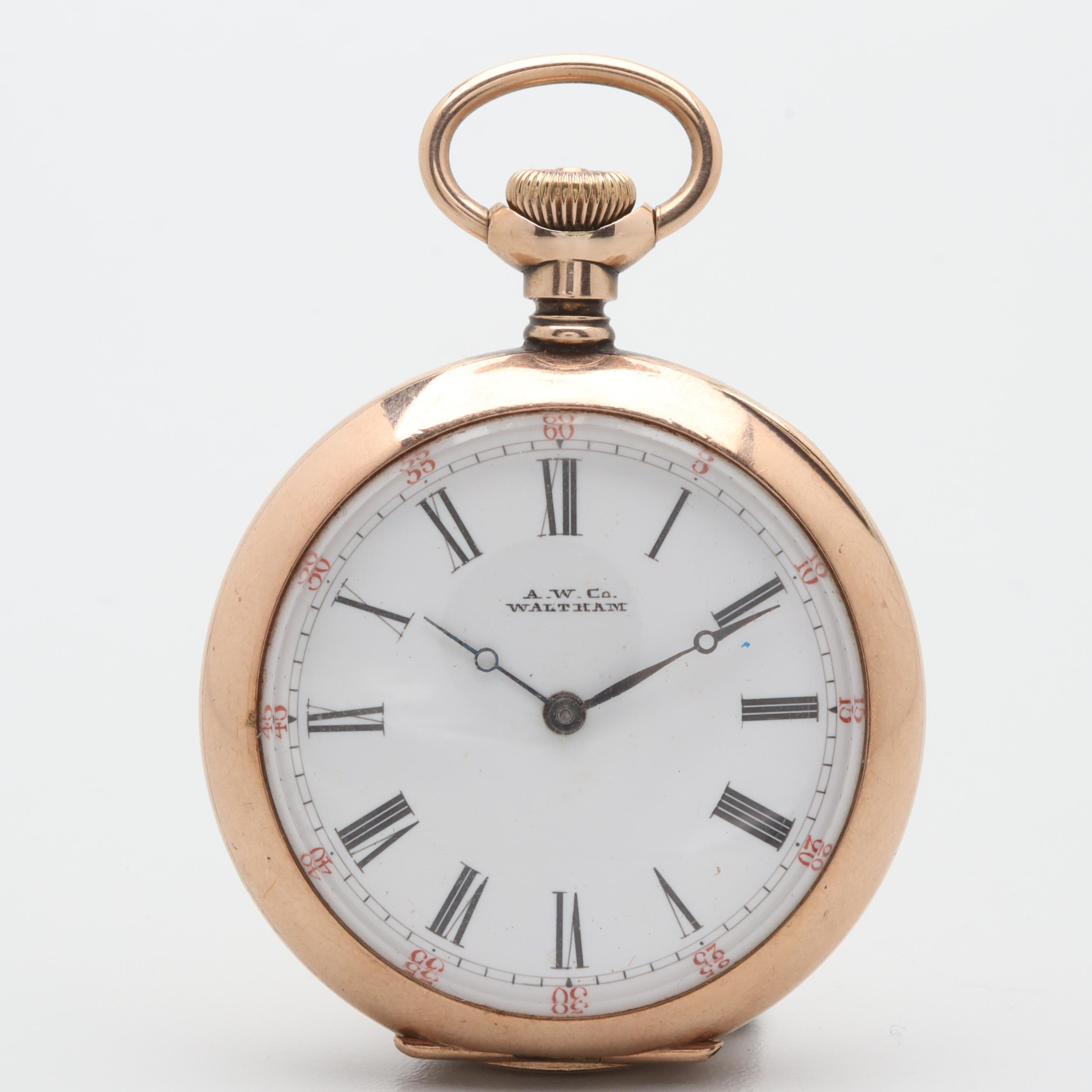 Waltham Gold Filled White Dial Open Face Pocket Watch