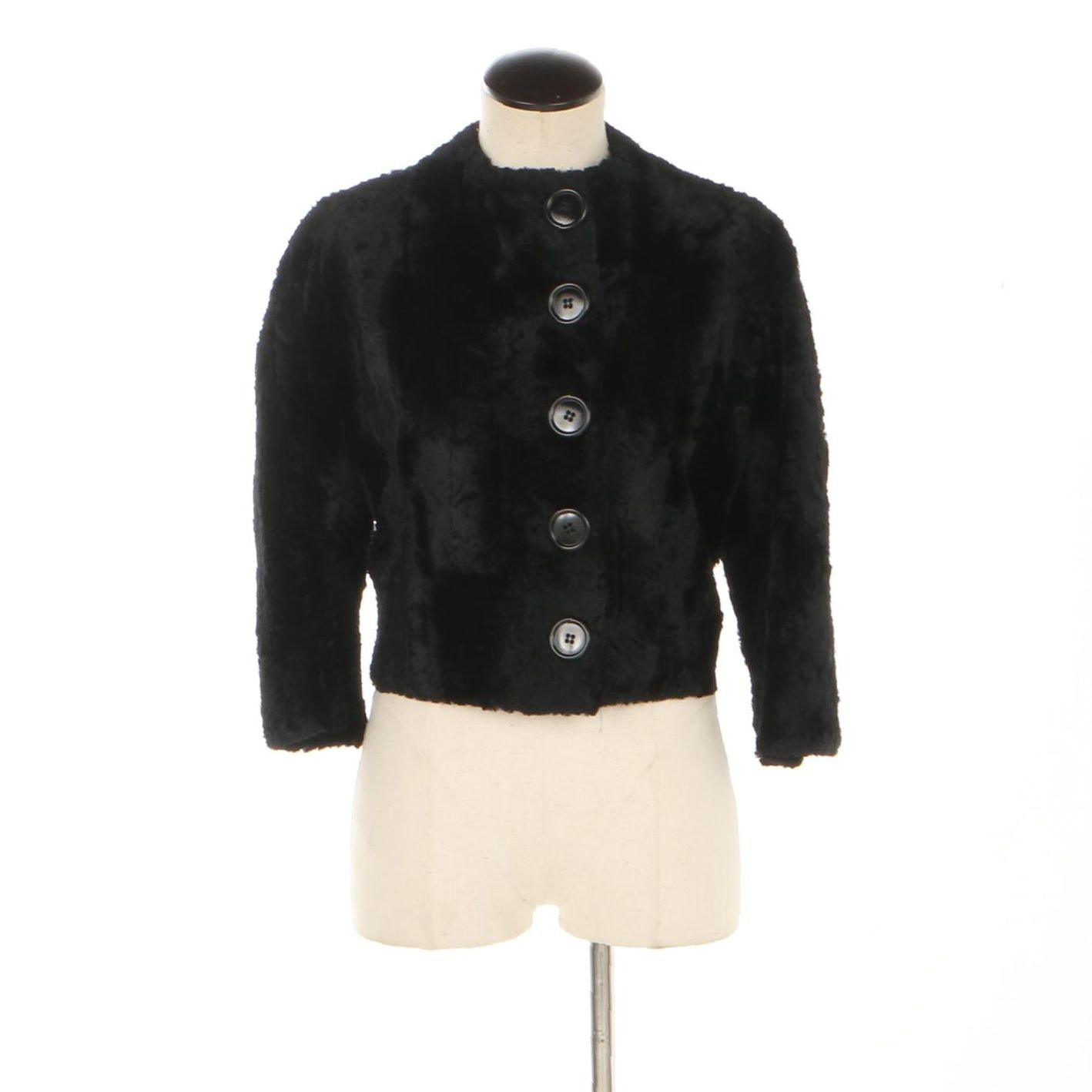 Women's Vintage Neiman Marcus Black Faux Fur Jacket