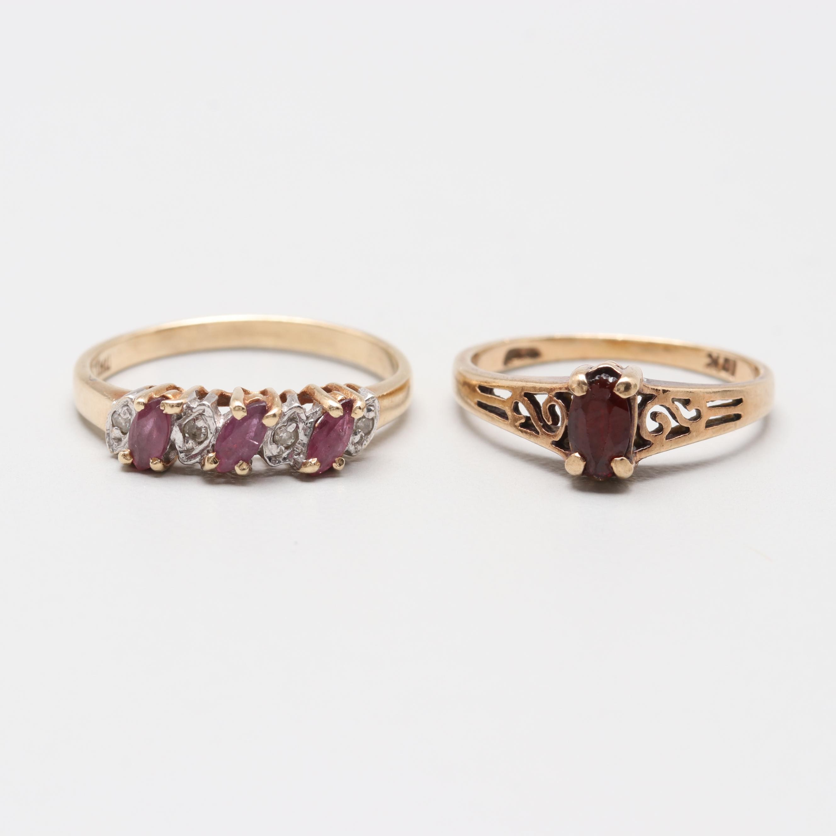 10K Yellow Gold Garnet, Ruby, and Diamond Ring
